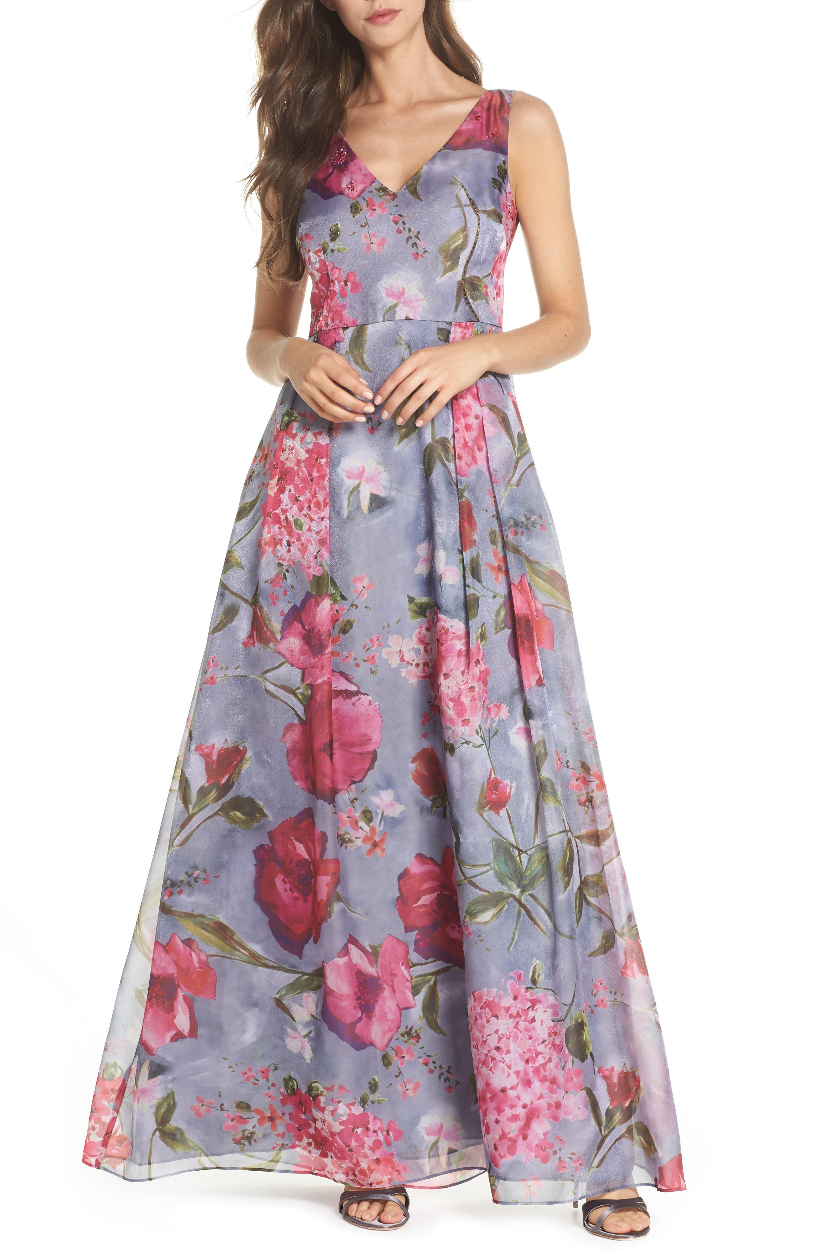 Flower Print Organza Gown,                             Main thumbnail 1, color,                             Dove Grey Multi