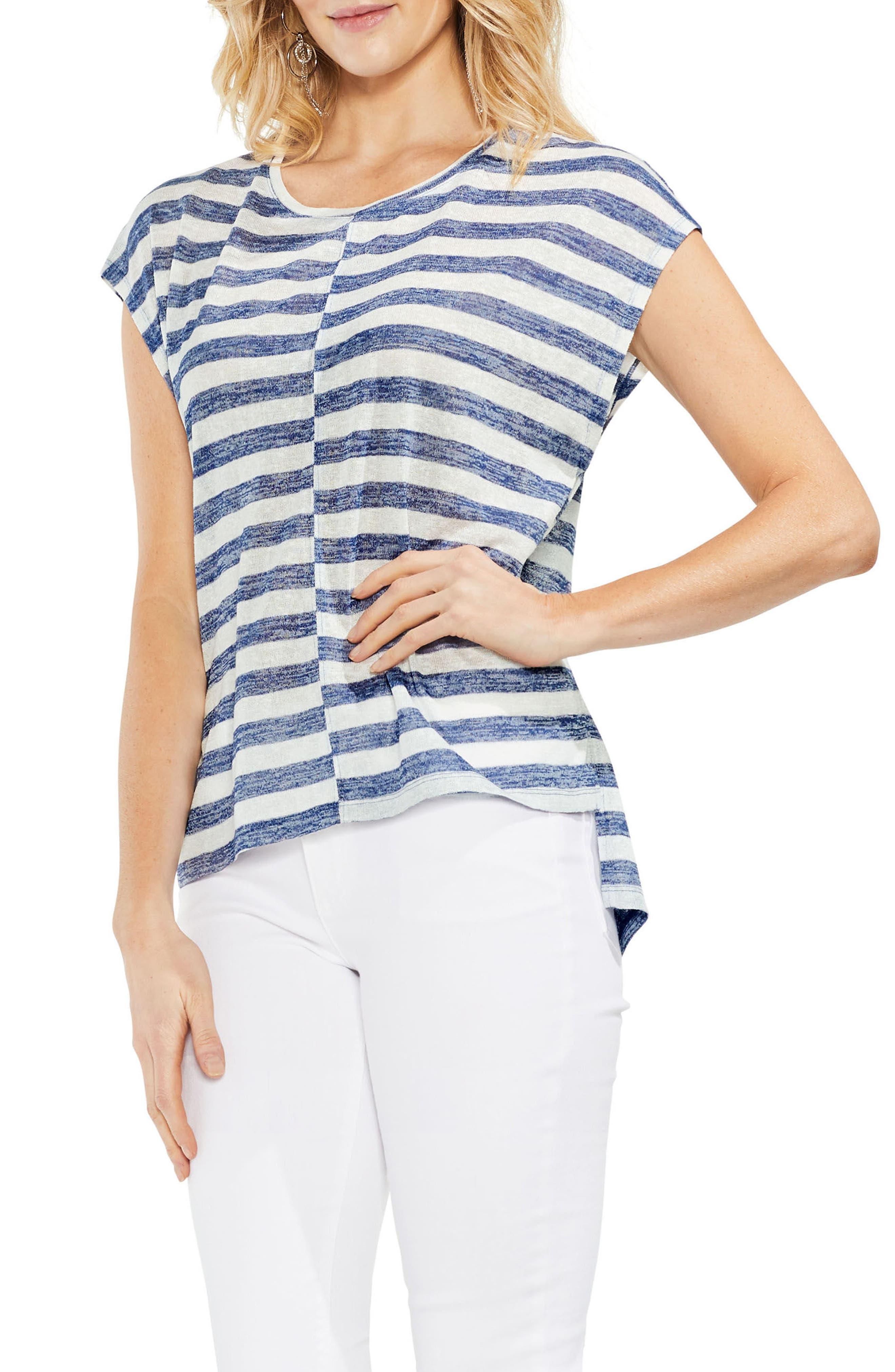 Offset Stripe Top,                         Main,                         color, High Tide
