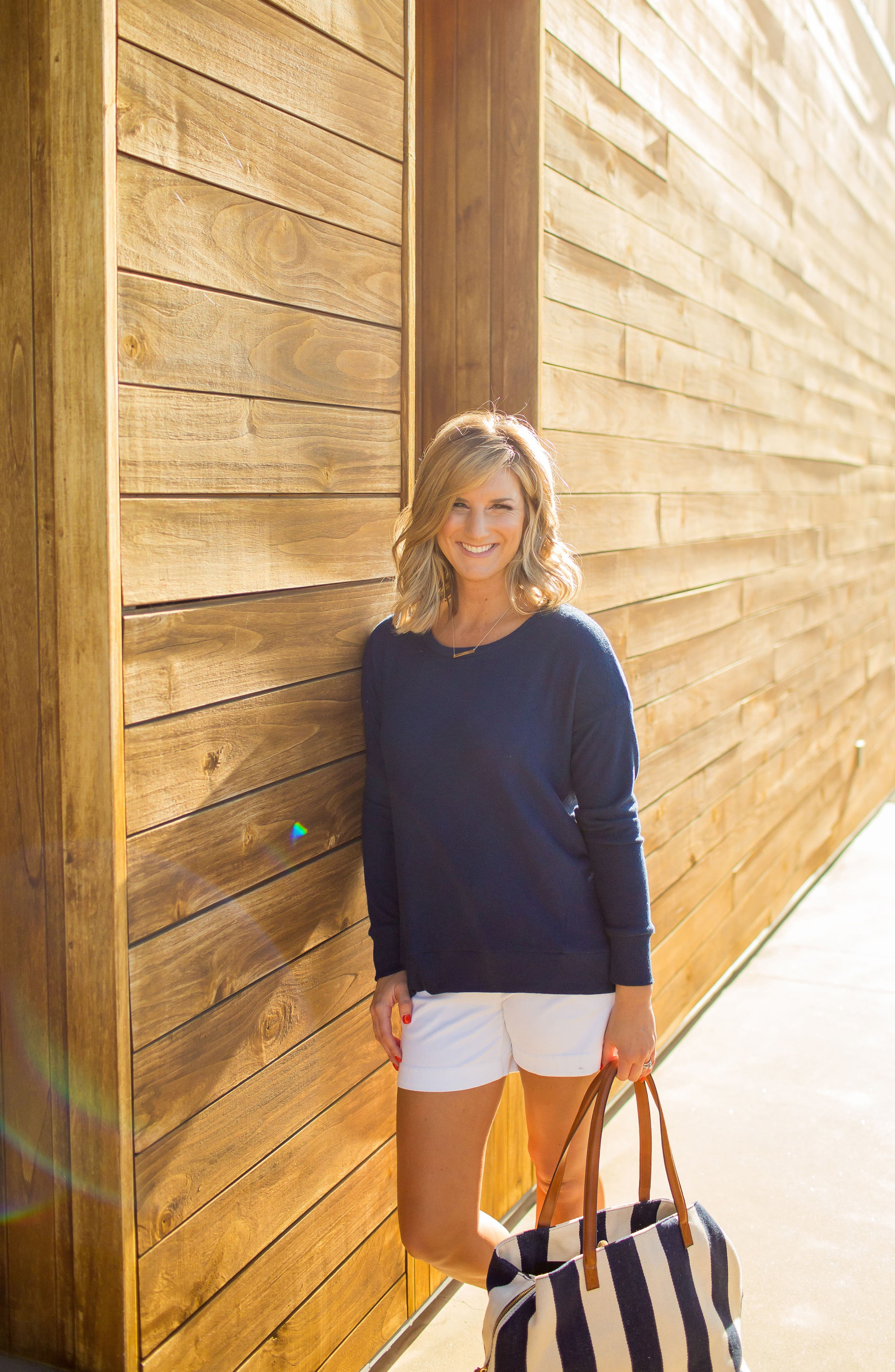x Living in Yellow Chelsea Shirttail Sweater,                             Alternate thumbnail 2, color,                             Navy