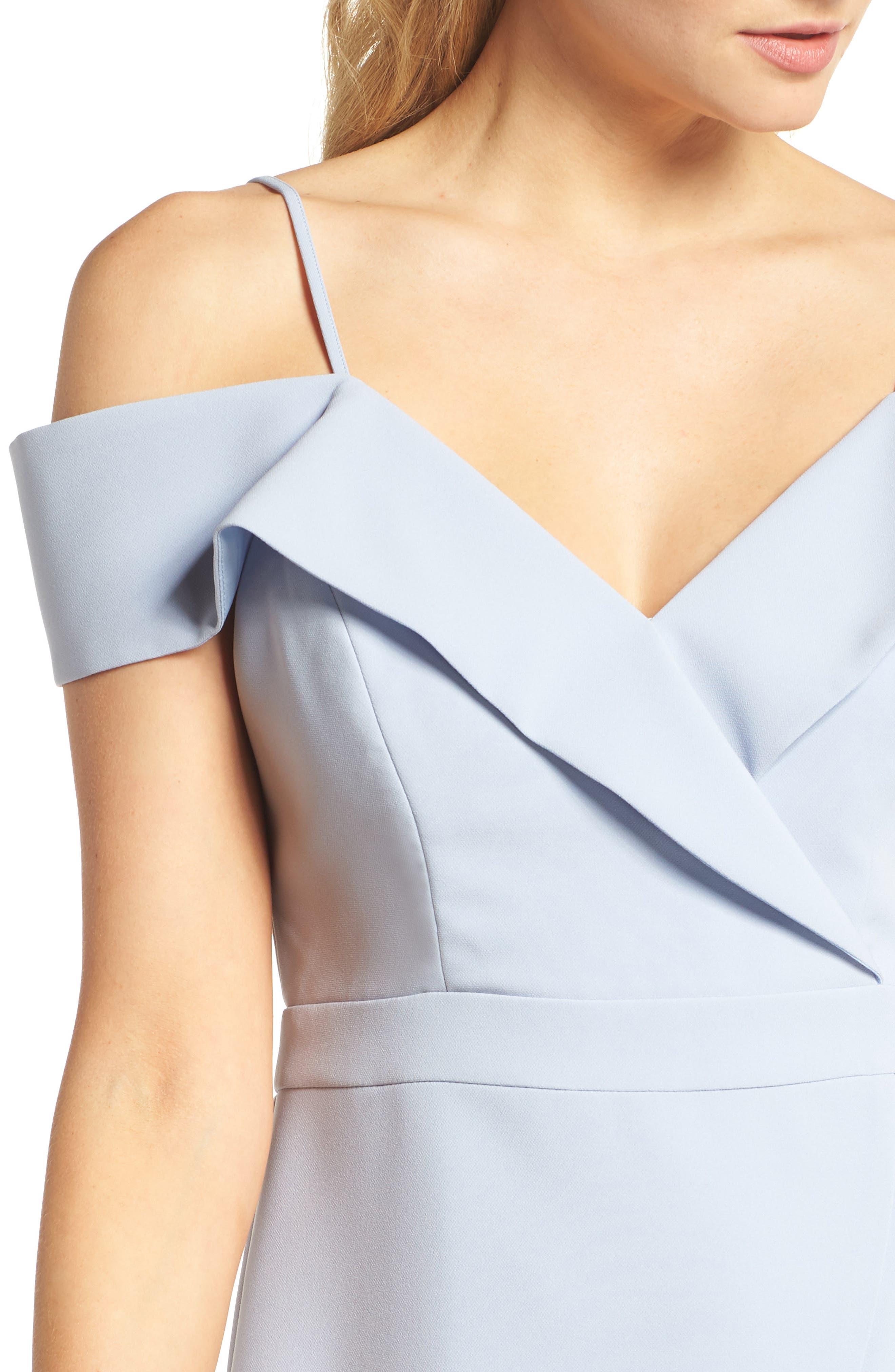 Cold Shoulder Ruffle Sheath Dress,                             Alternate thumbnail 4, color,                             Sky Blue
