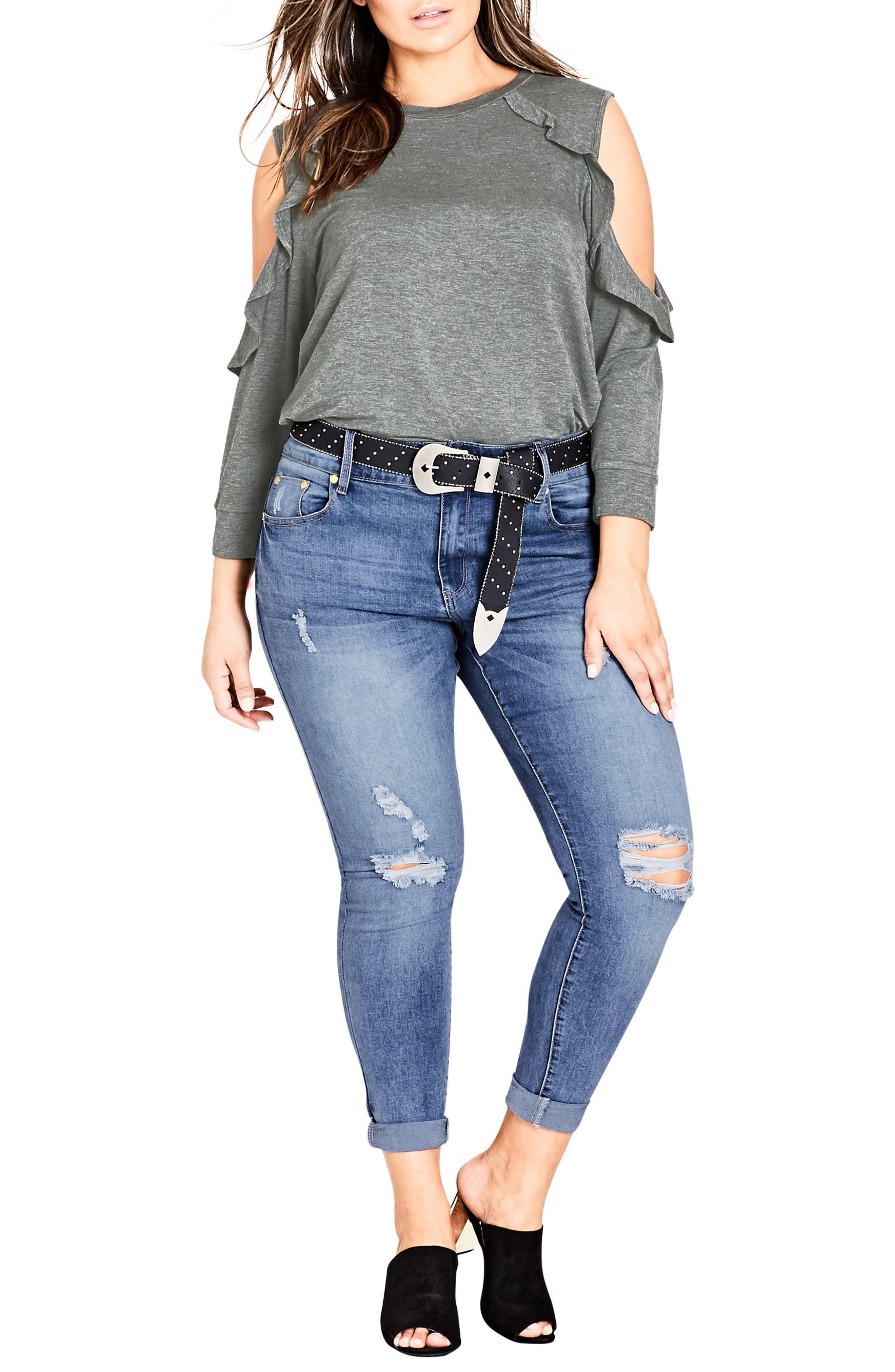 Ripped Up Skinny Jeans,                             Alternate thumbnail 4, color,                             Light Denim