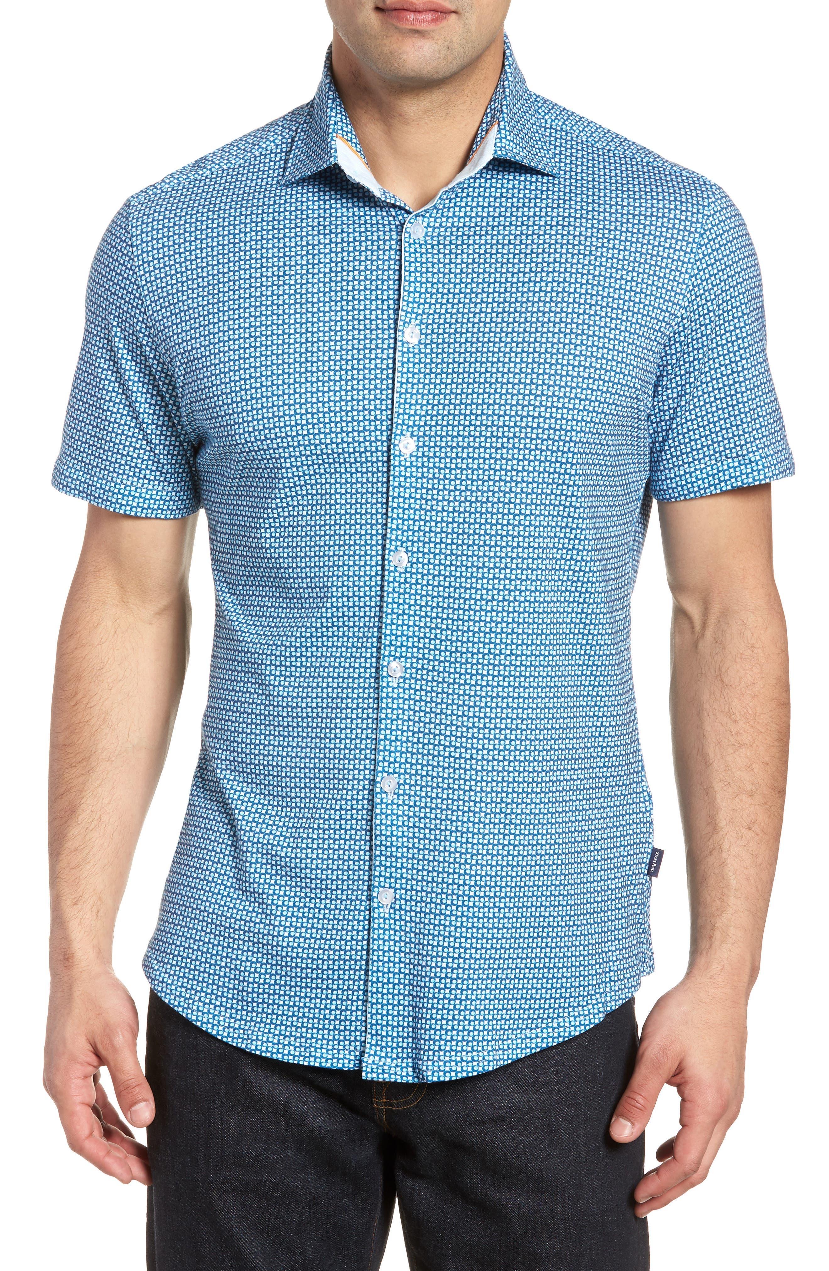Trim Fit Circle Geo Print Sport Shirt,                         Main,                         color, Navy