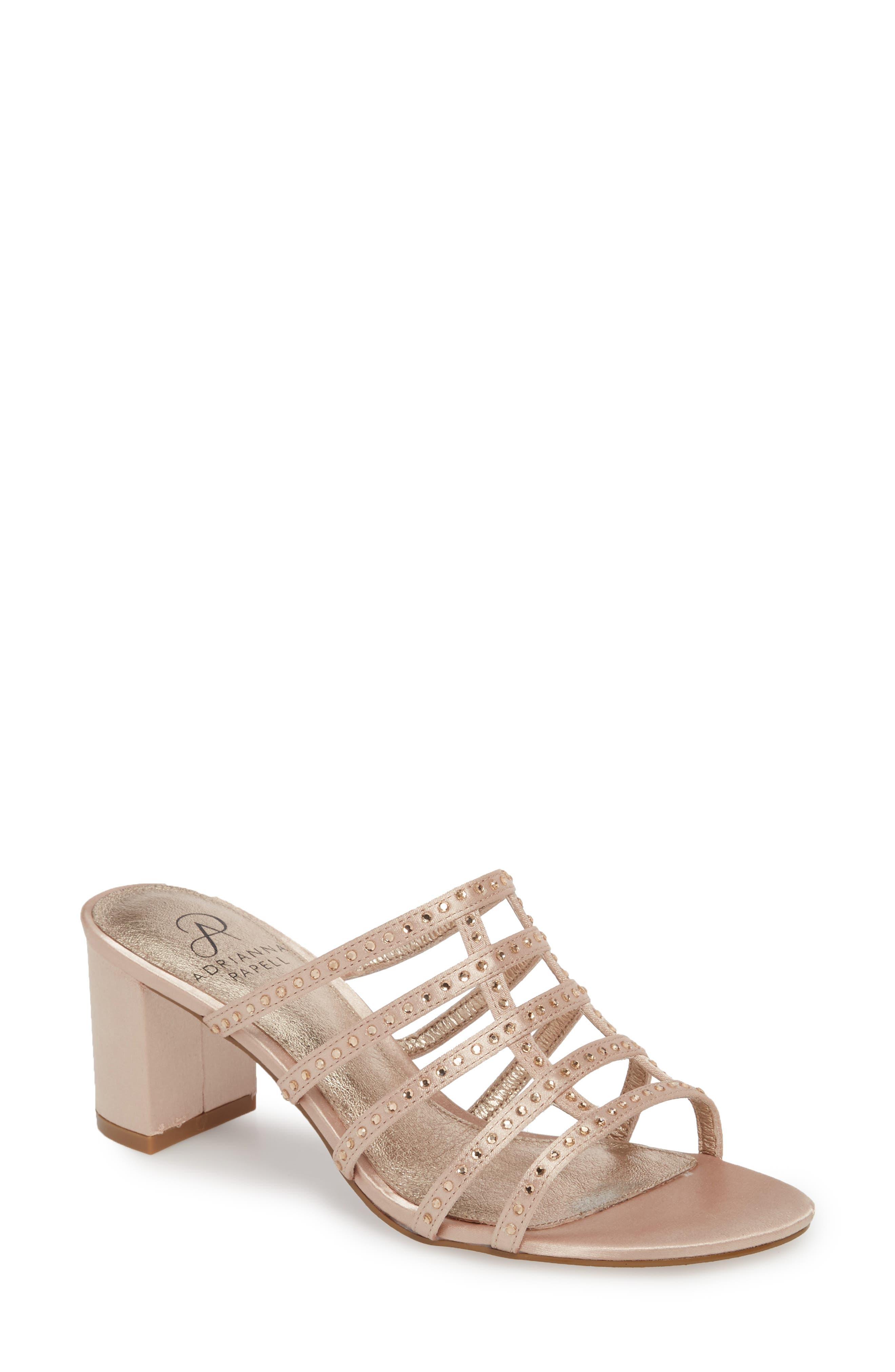 Apollo Block Heel Sandal,                         Main,                         color, Sheer Fabric