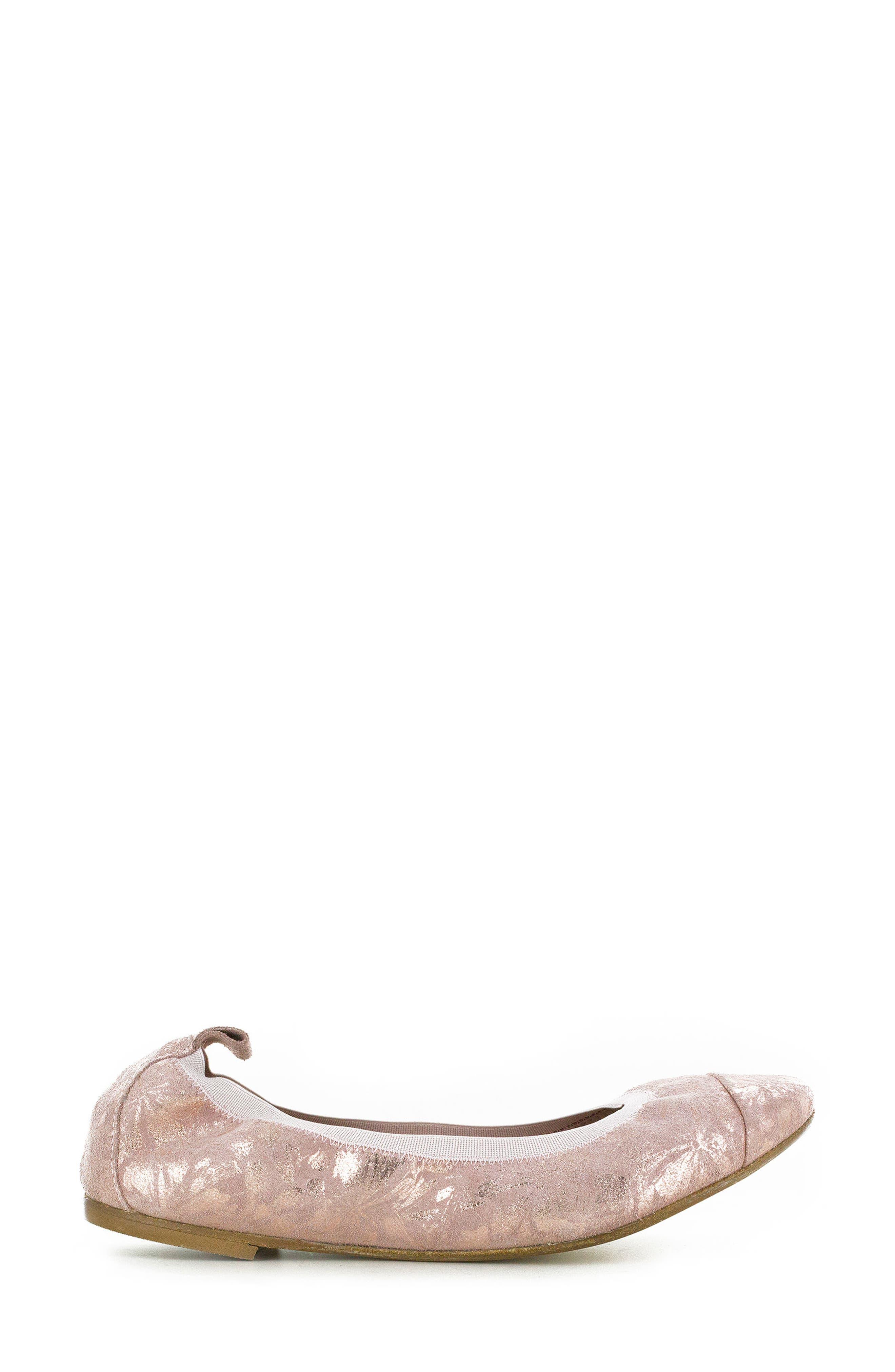 Kara Ballet Flat,                             Alternate thumbnail 3, color,                             Rose Quartz Floral Leather