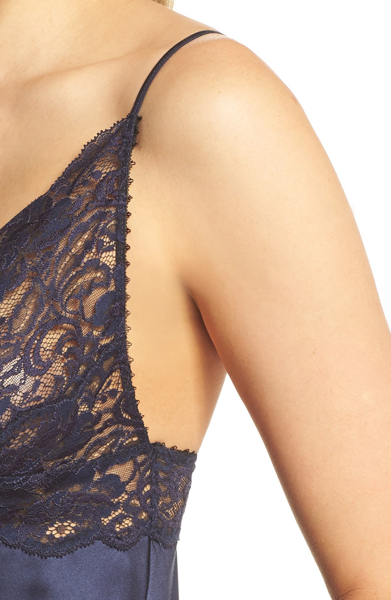Lace Trim Silk Chemise,                             Alternate thumbnail 5, color,                             Midnight / Midnight