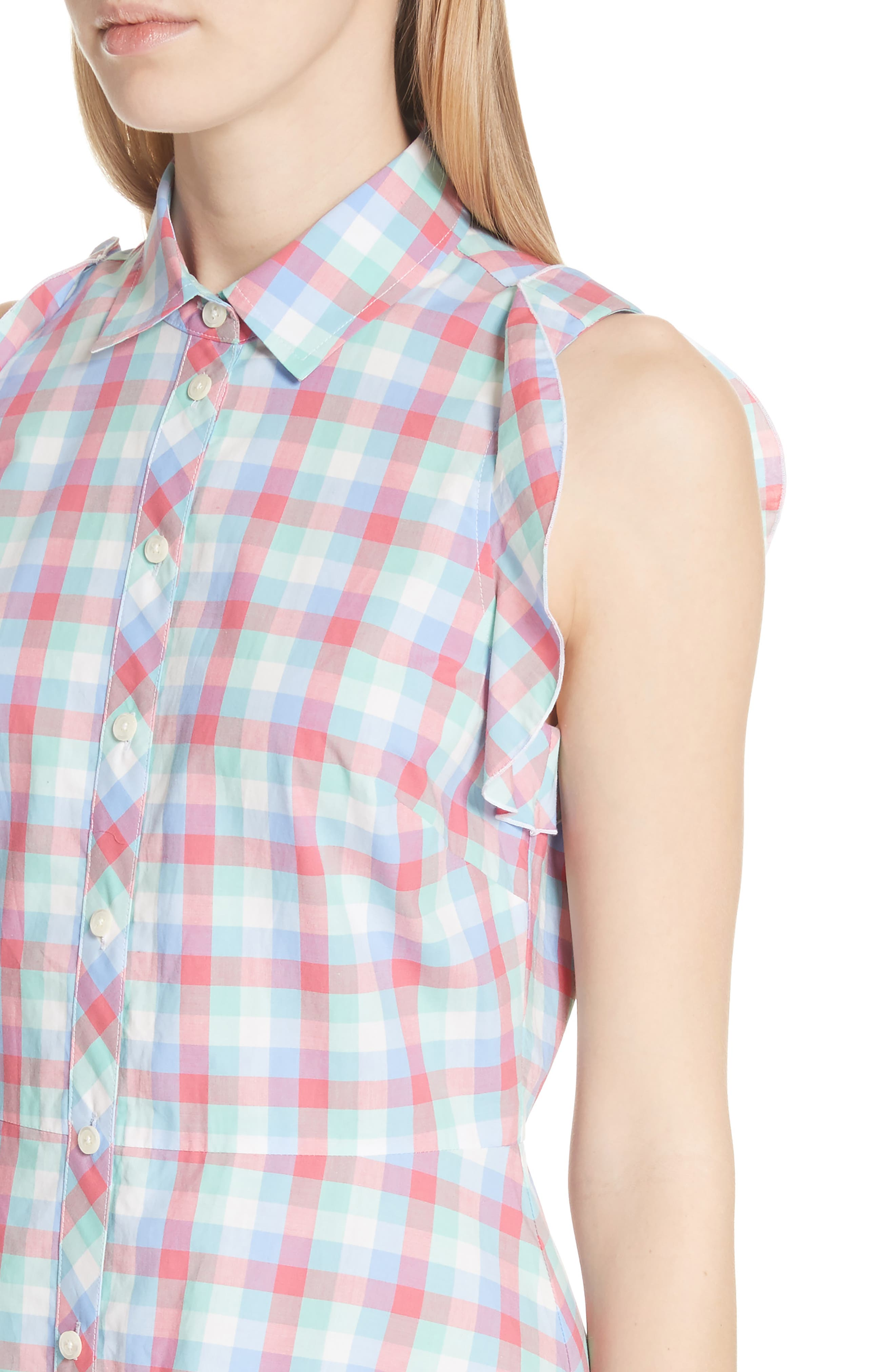 madras poplin shirtdress,                             Alternate thumbnail 4, color,                             Multi