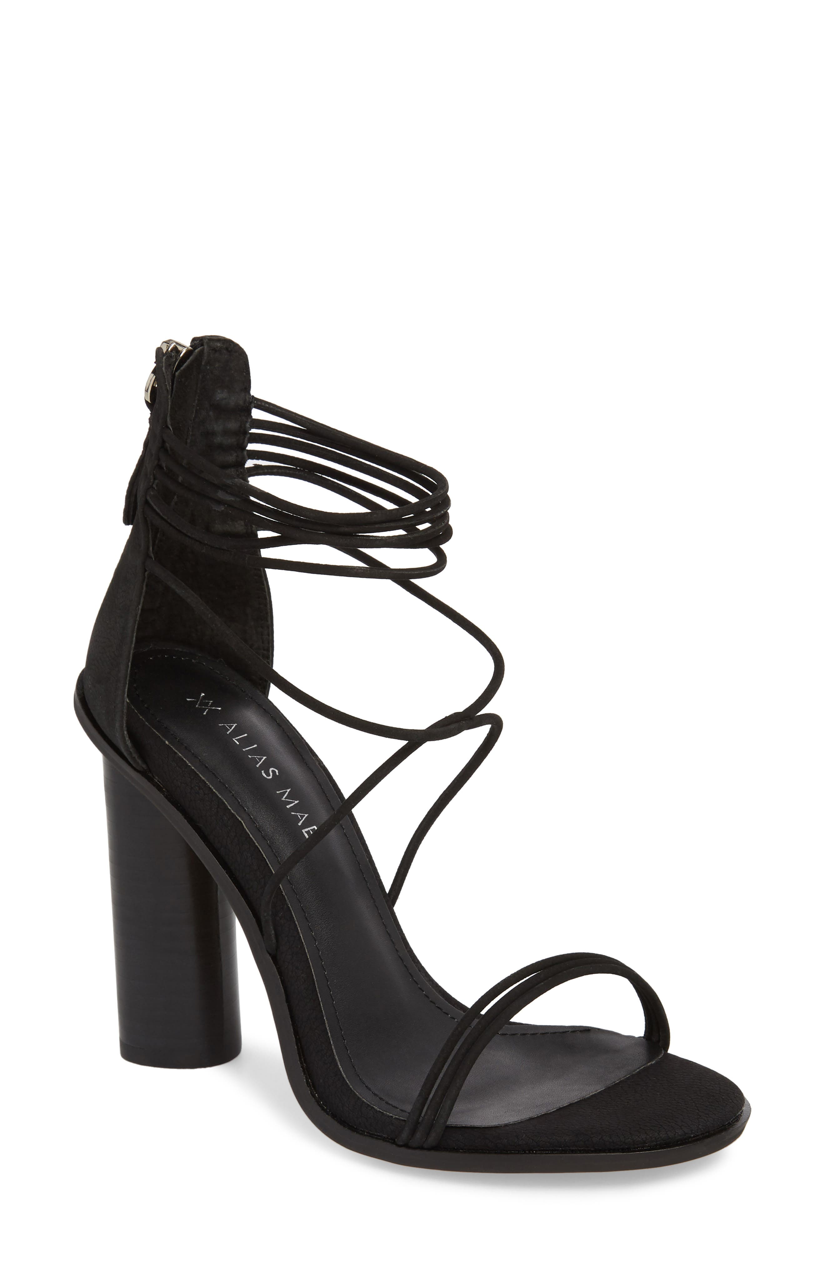 Aflux Tall Strappy Sandal,                         Main,                         color, Black Nubuck Leather