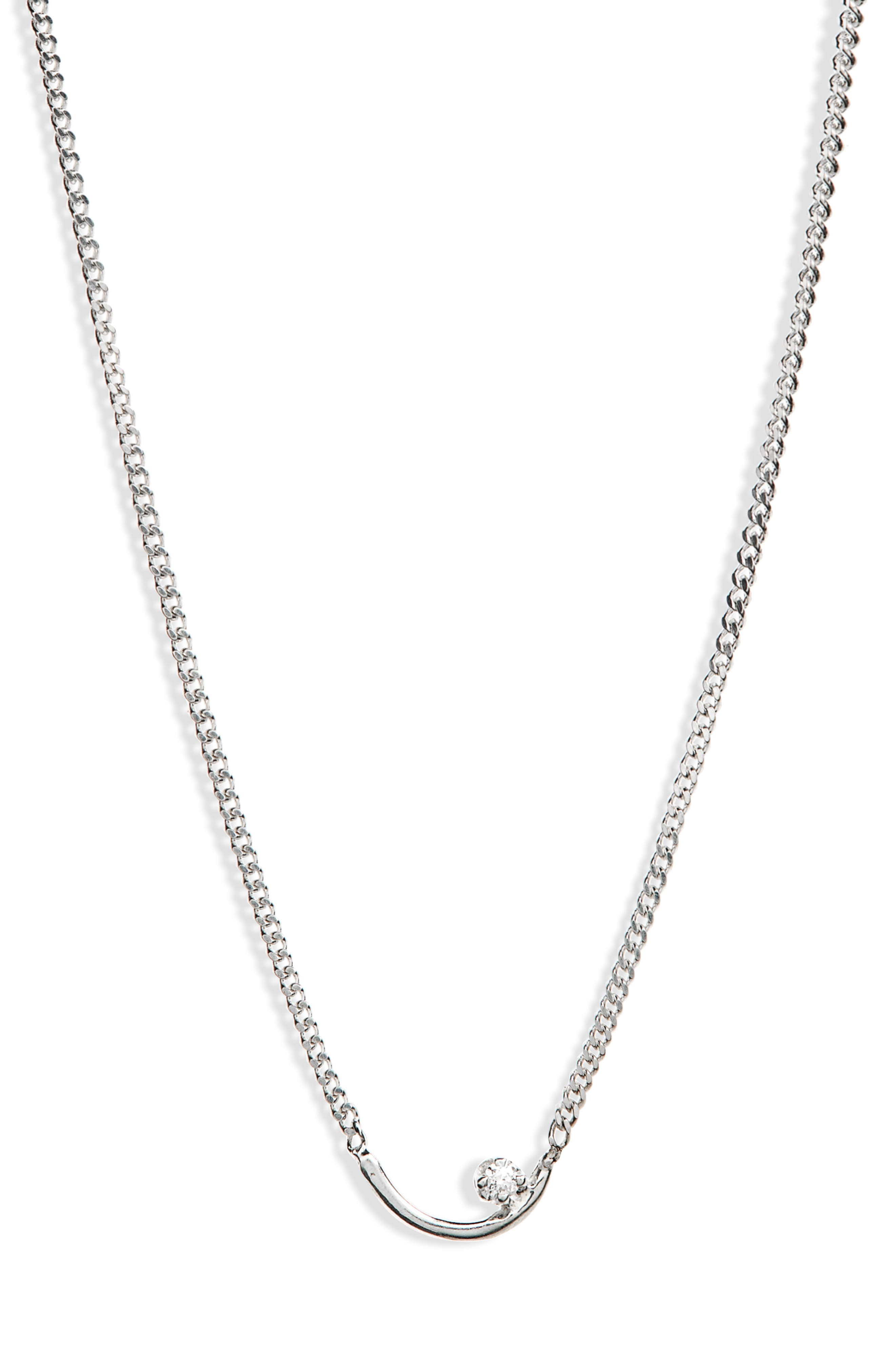 Arc Lineage Necklace,                             Main thumbnail 1, color,                             Silver/ White Diamond