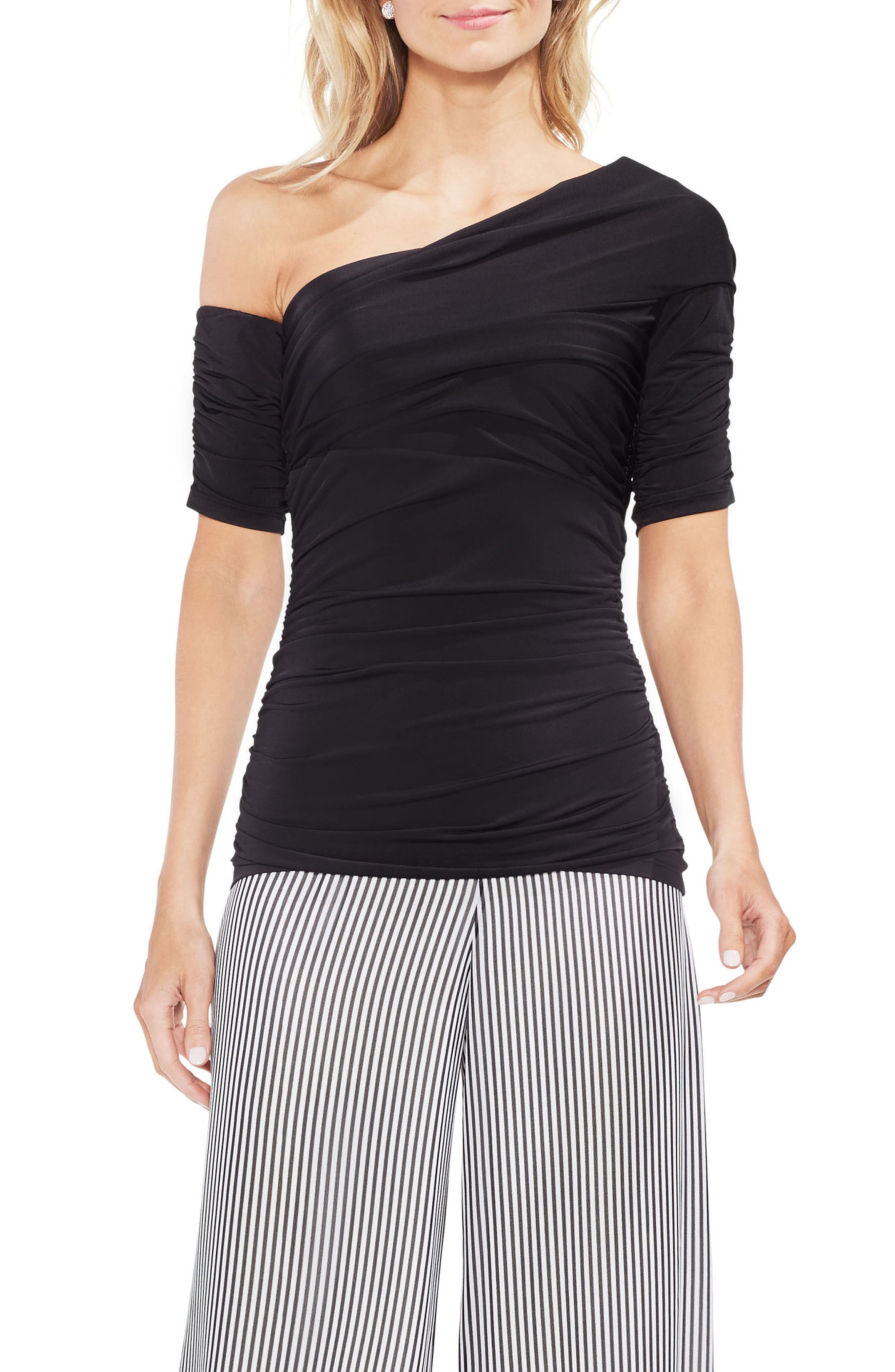 One Shoulder Ruched Top,                         Main,                         color, Rich Black