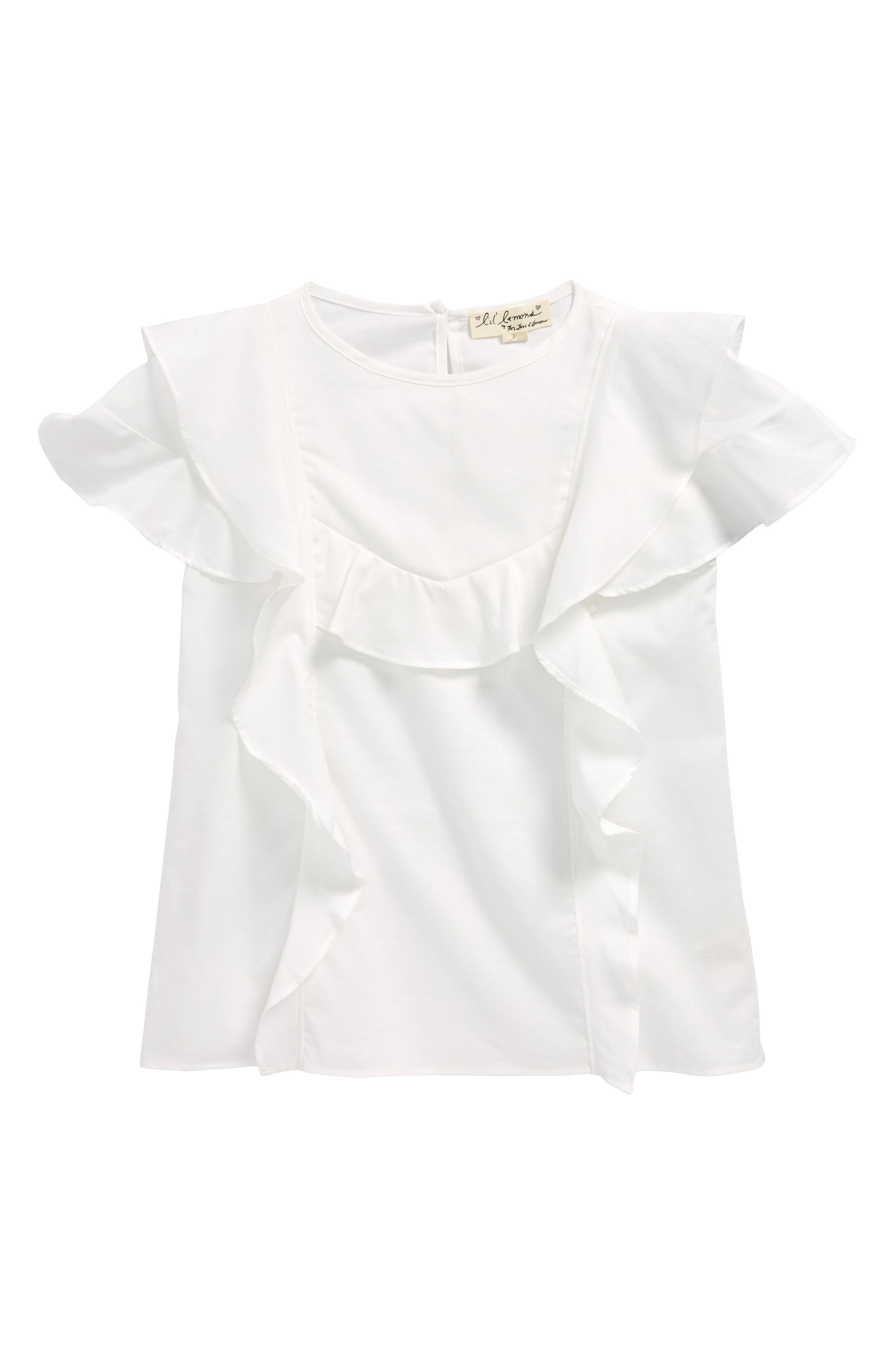 Lily Ruffle Blouse,                         Main,                         color, White