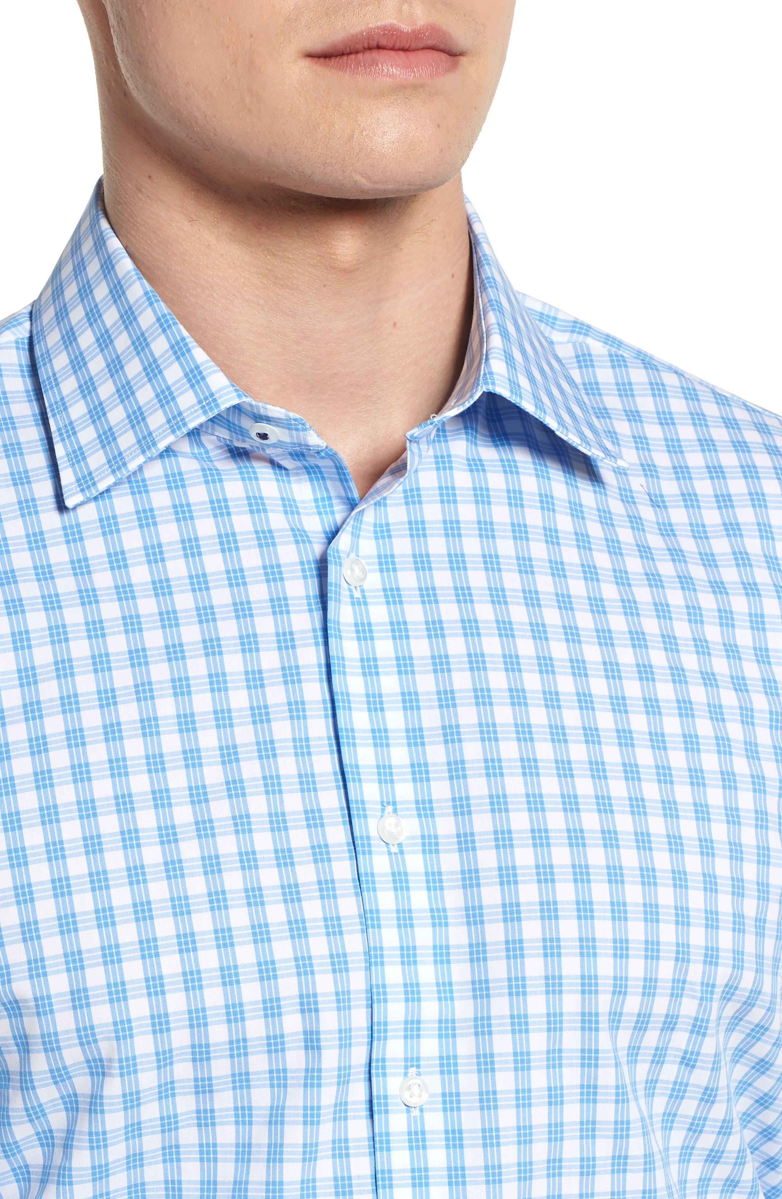 Tech Smart Traditional Fit Stretch Check Dress Shirt,                             Alternate thumbnail 4, color,                             Blue Lake