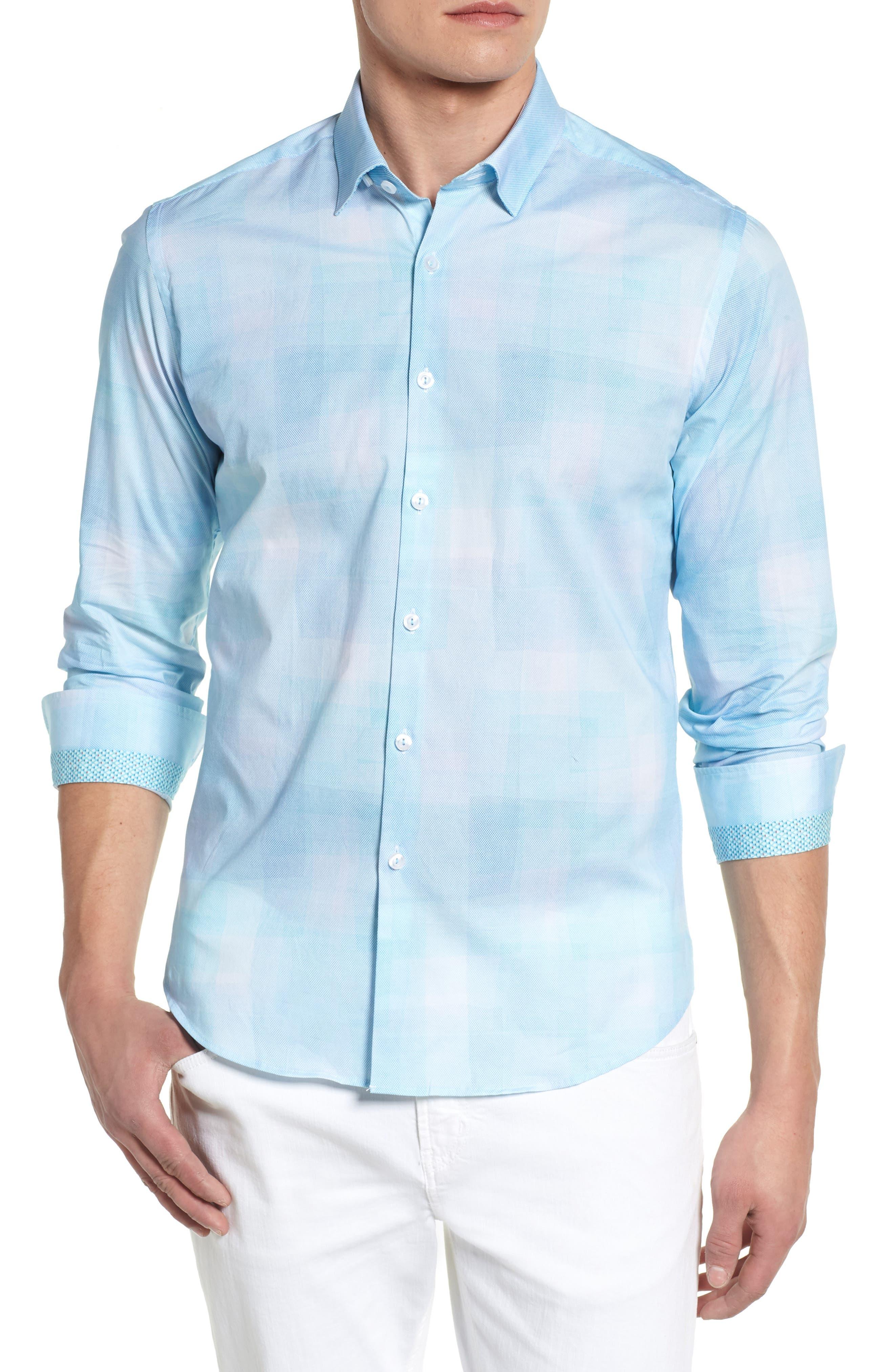 Plaid Sport Shirt,                         Main,                         color, Mint
