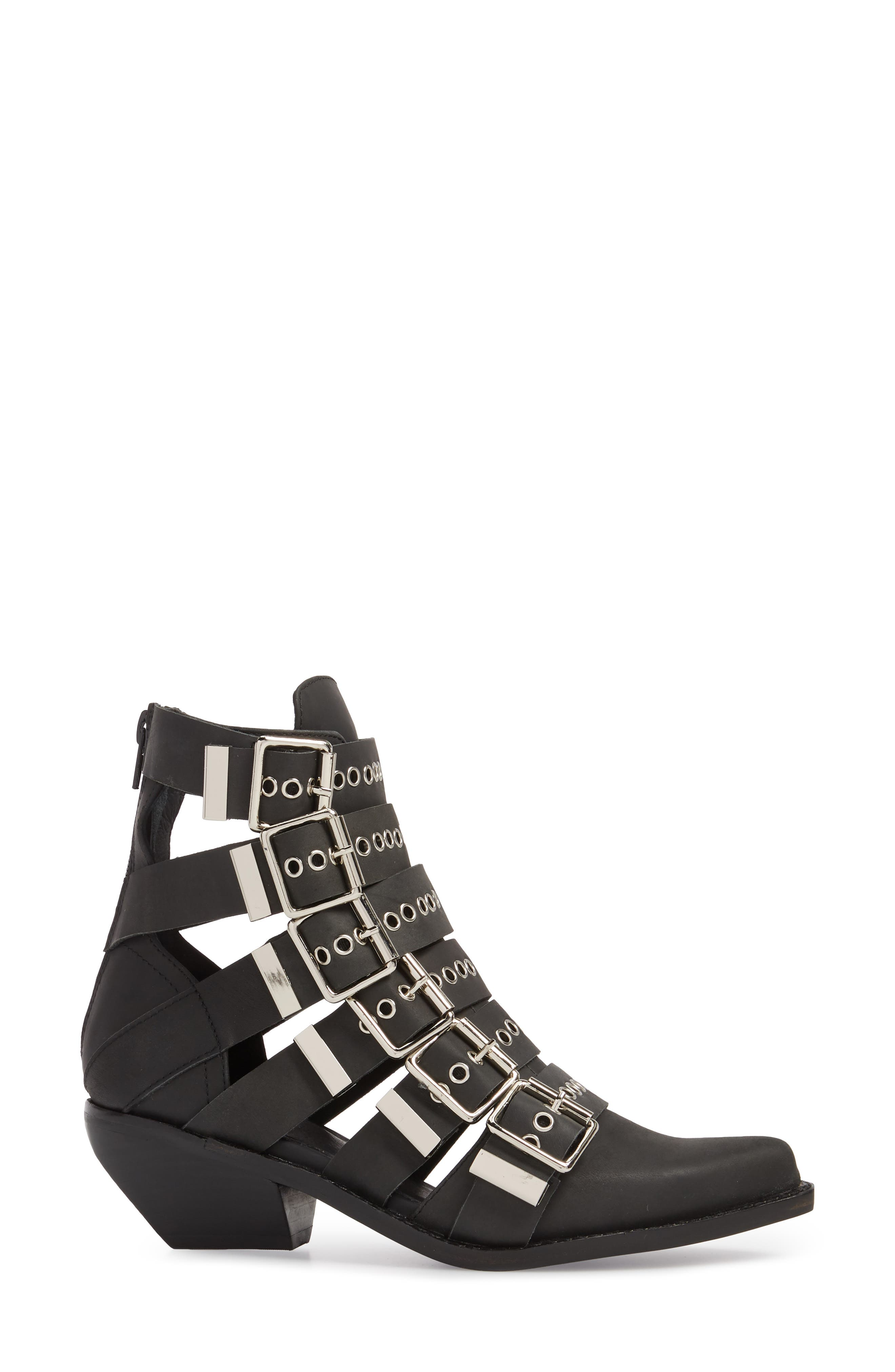 Disturbed Moto Buckle Bootie,                             Alternate thumbnail 3, color,                             Black Washed