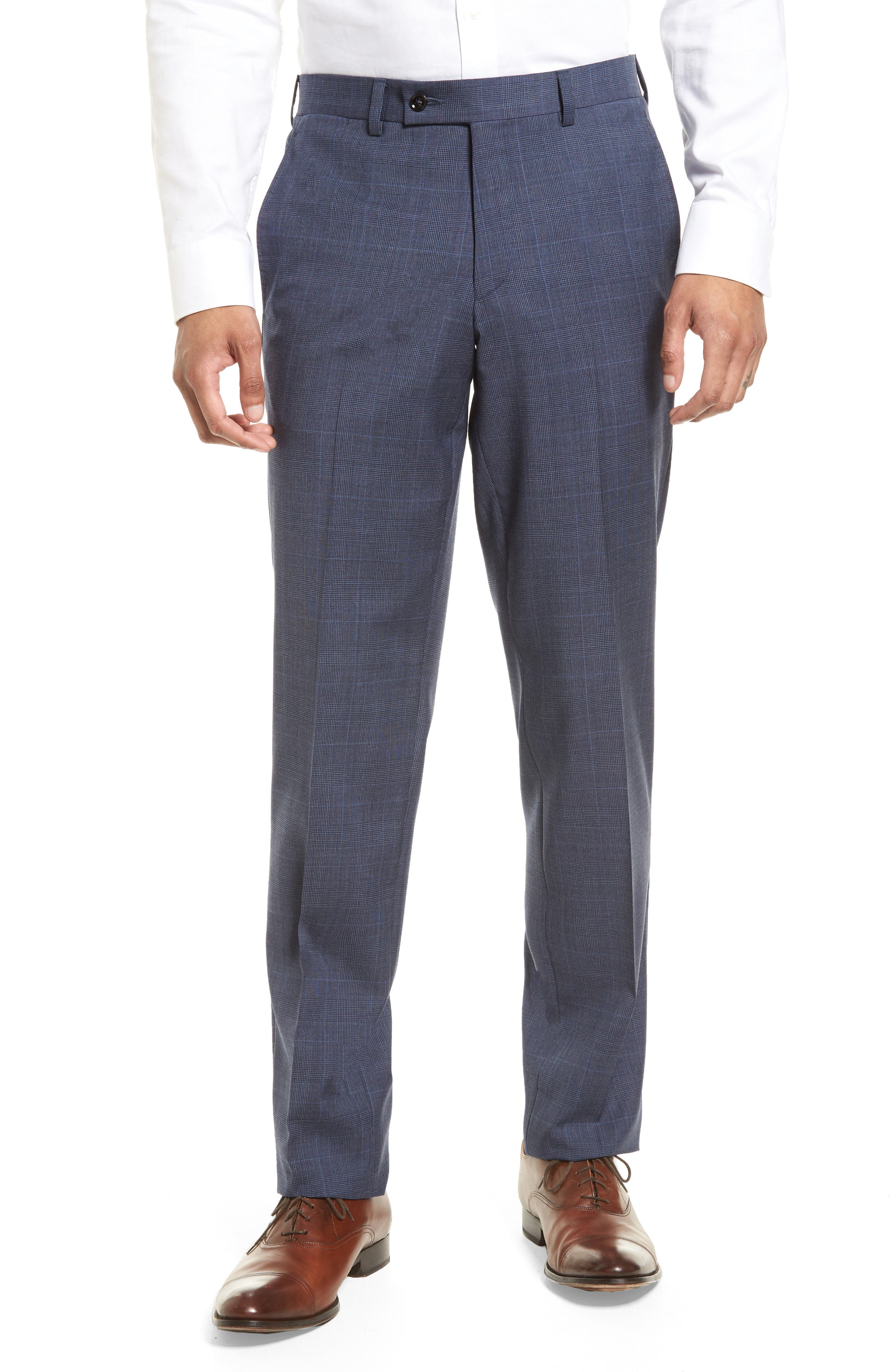 Jefferson Flat Front Wool Trousers,                             Main thumbnail 1, color,                             Blue