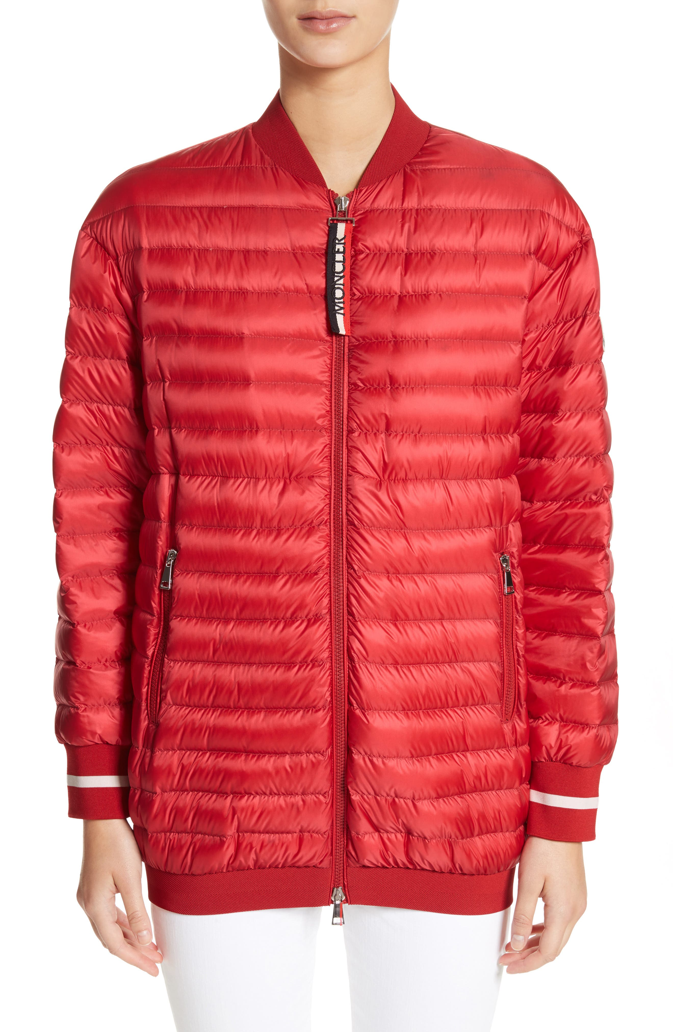 Charoite Water Resistant Down Puffer Coat,                         Main,                         color, Red