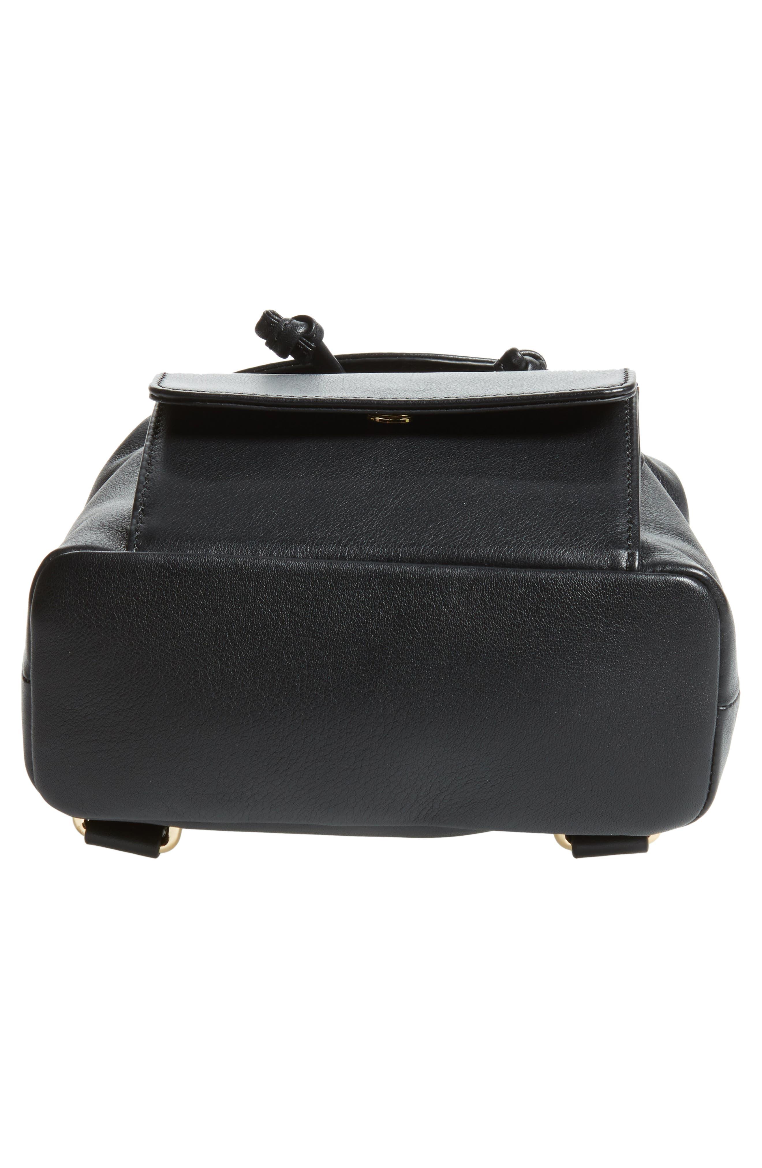 Mini Calfskin Leather Backpack,                             Alternate thumbnail 5, color,                             Black/ Gold