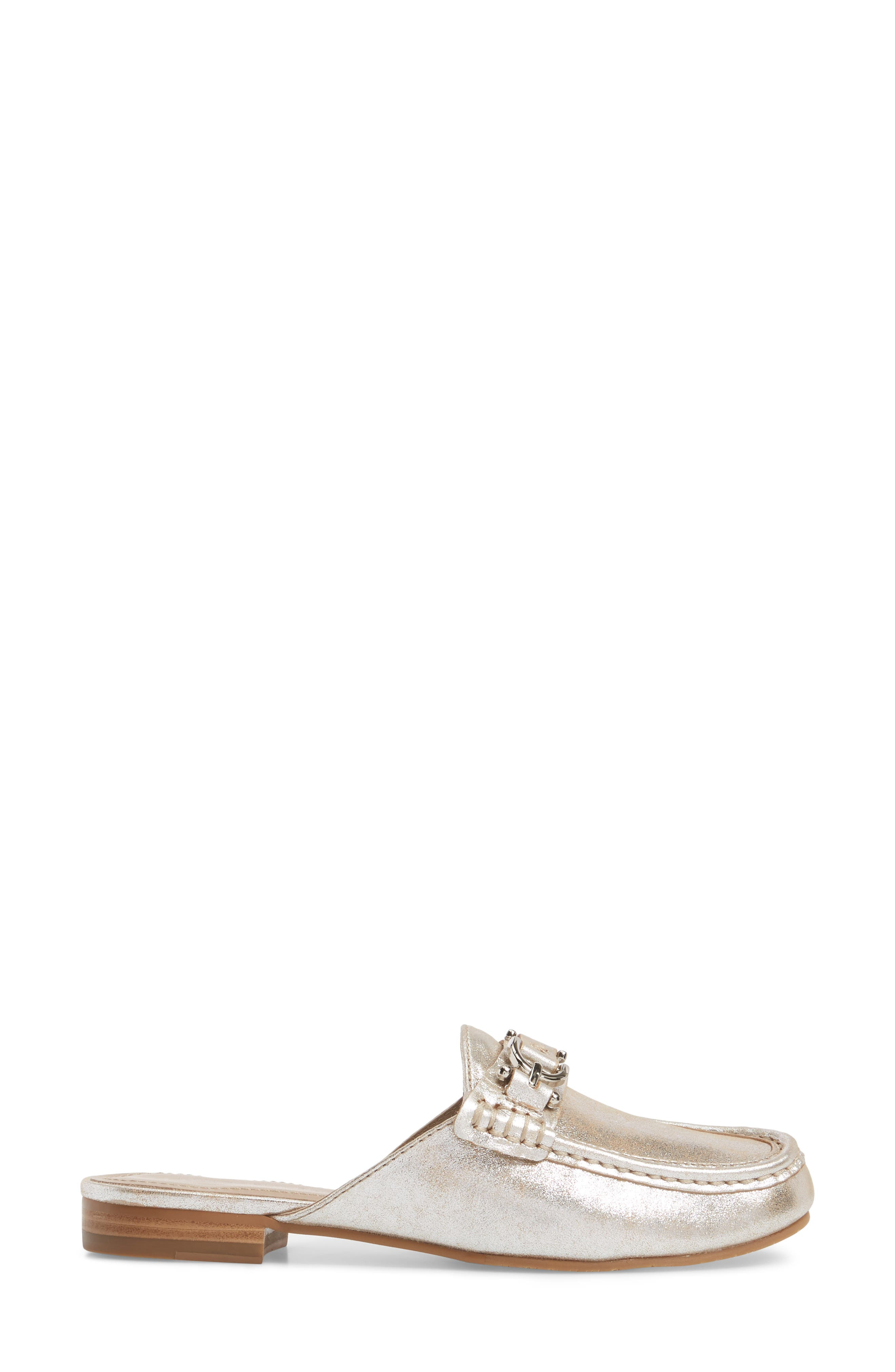 Sylvi Loafer Mule,                             Alternate thumbnail 3, color,                             Silver Leather