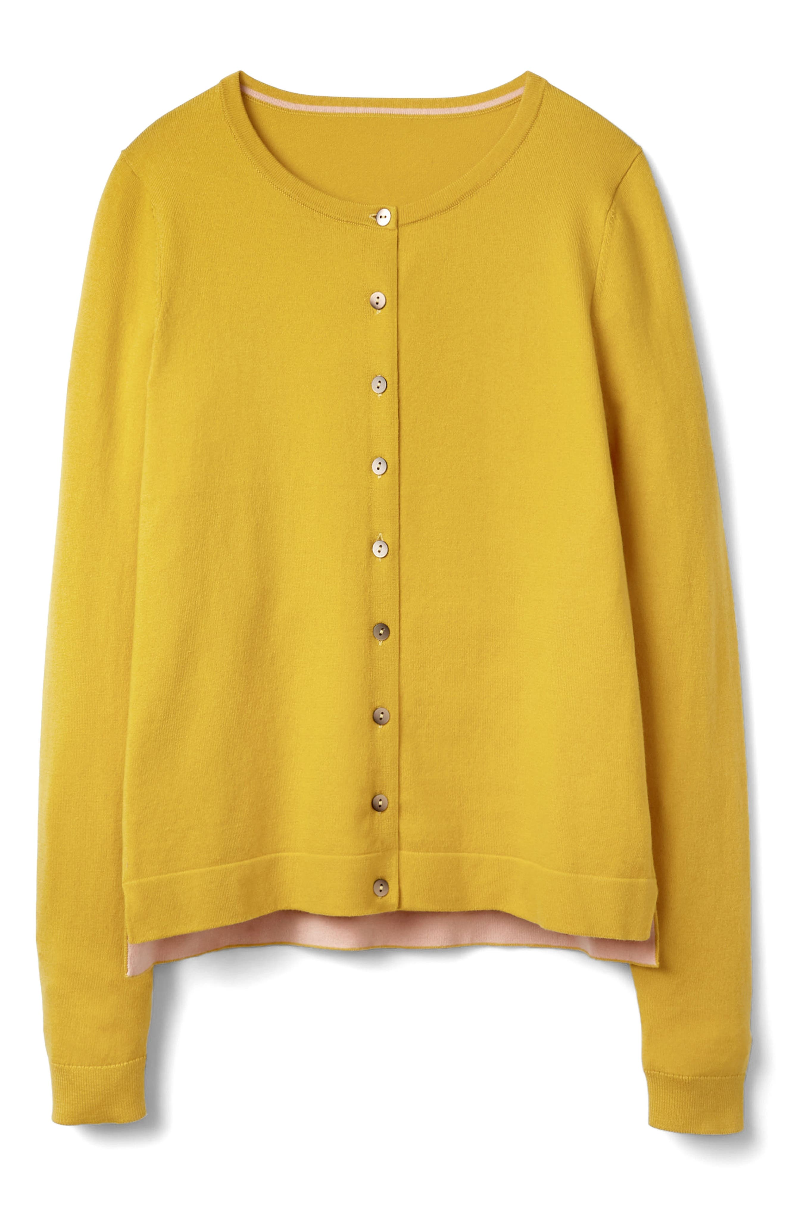 Crewneck Cardigan,                             Alternate thumbnail 6, color,                             Mimosa Yellow