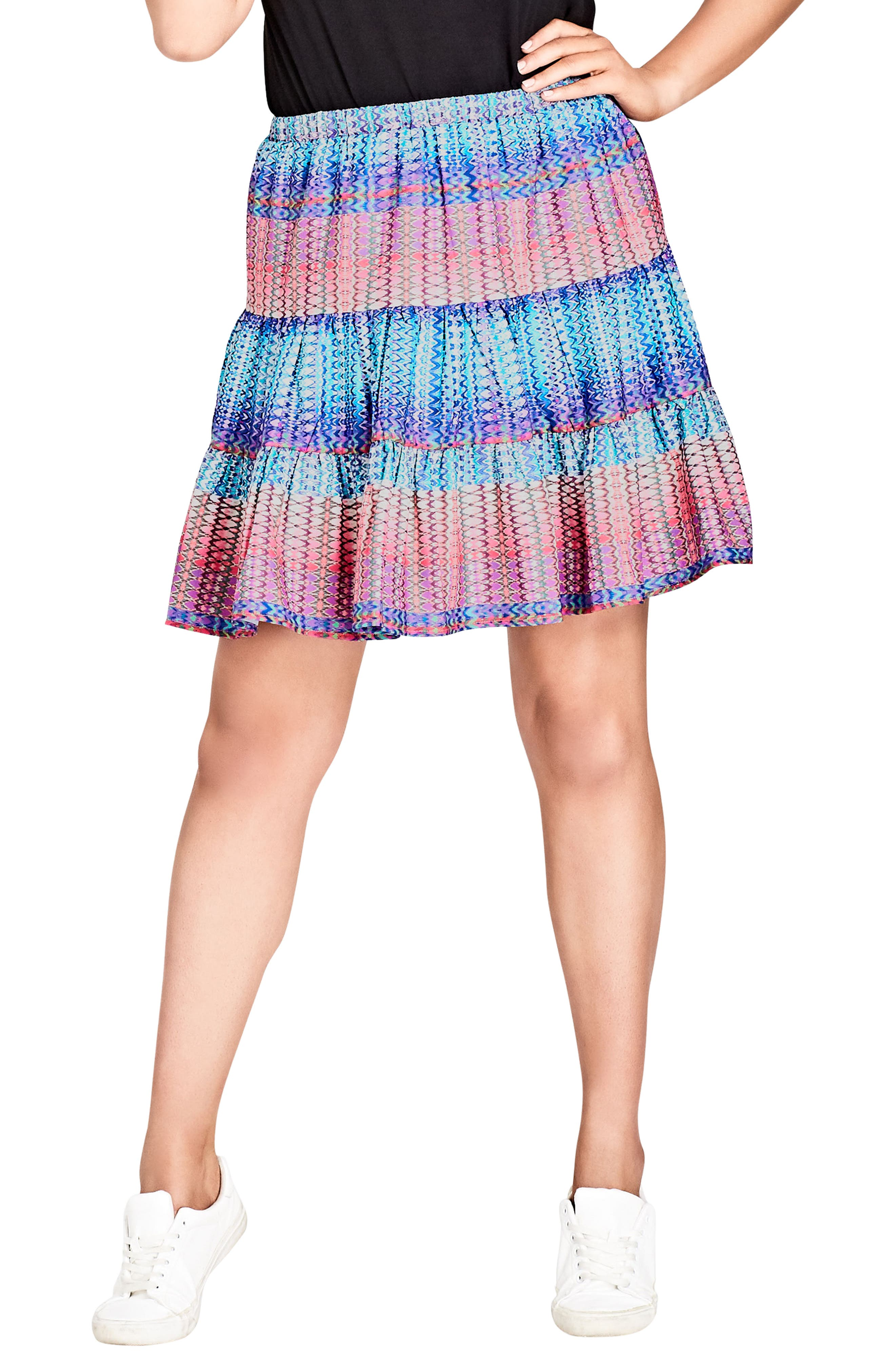 City Chic Tiered Up Skirt (Plus Size)