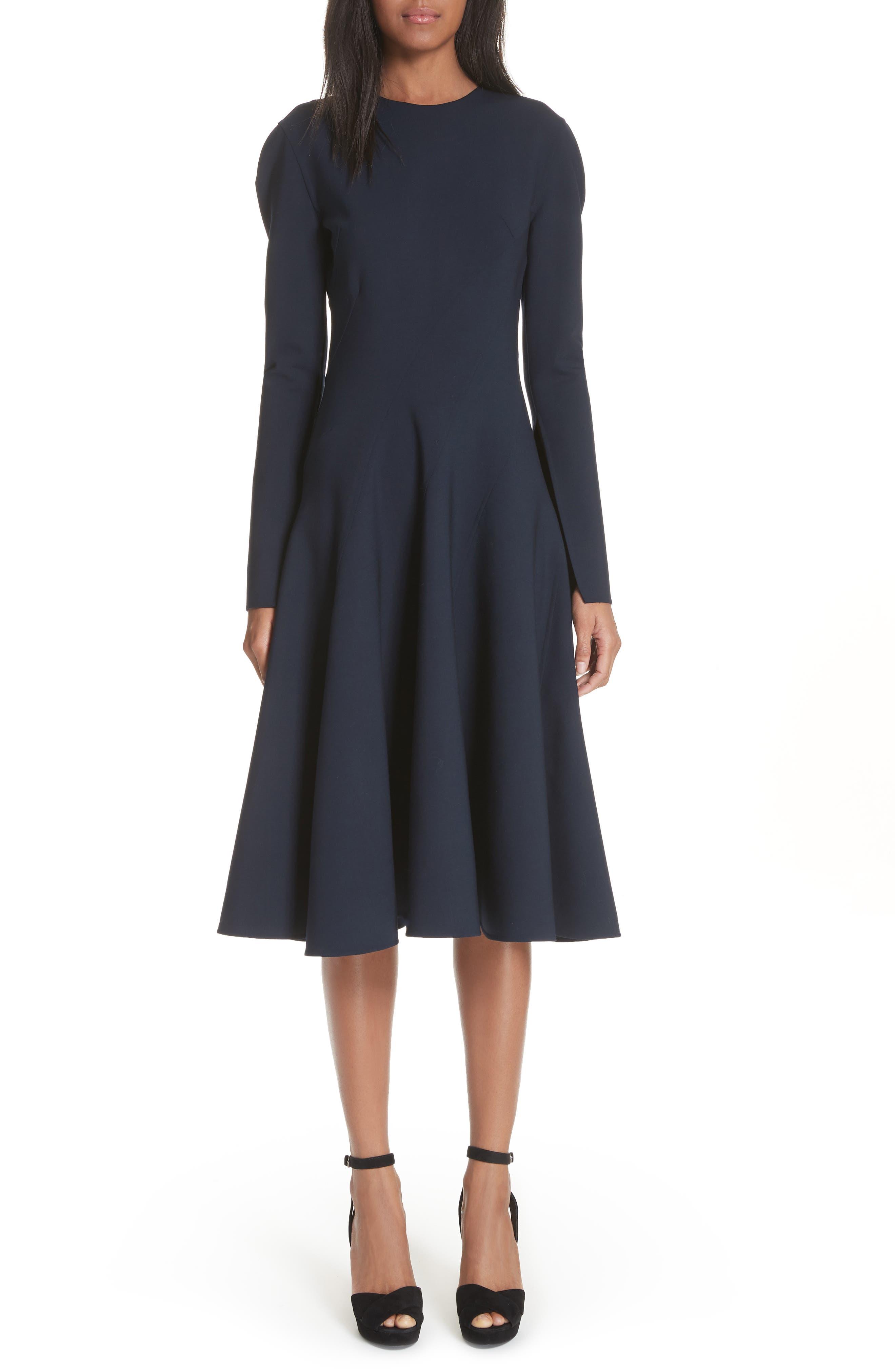 Oscar de la Renta Split Sleeve Stretch Wool Dress