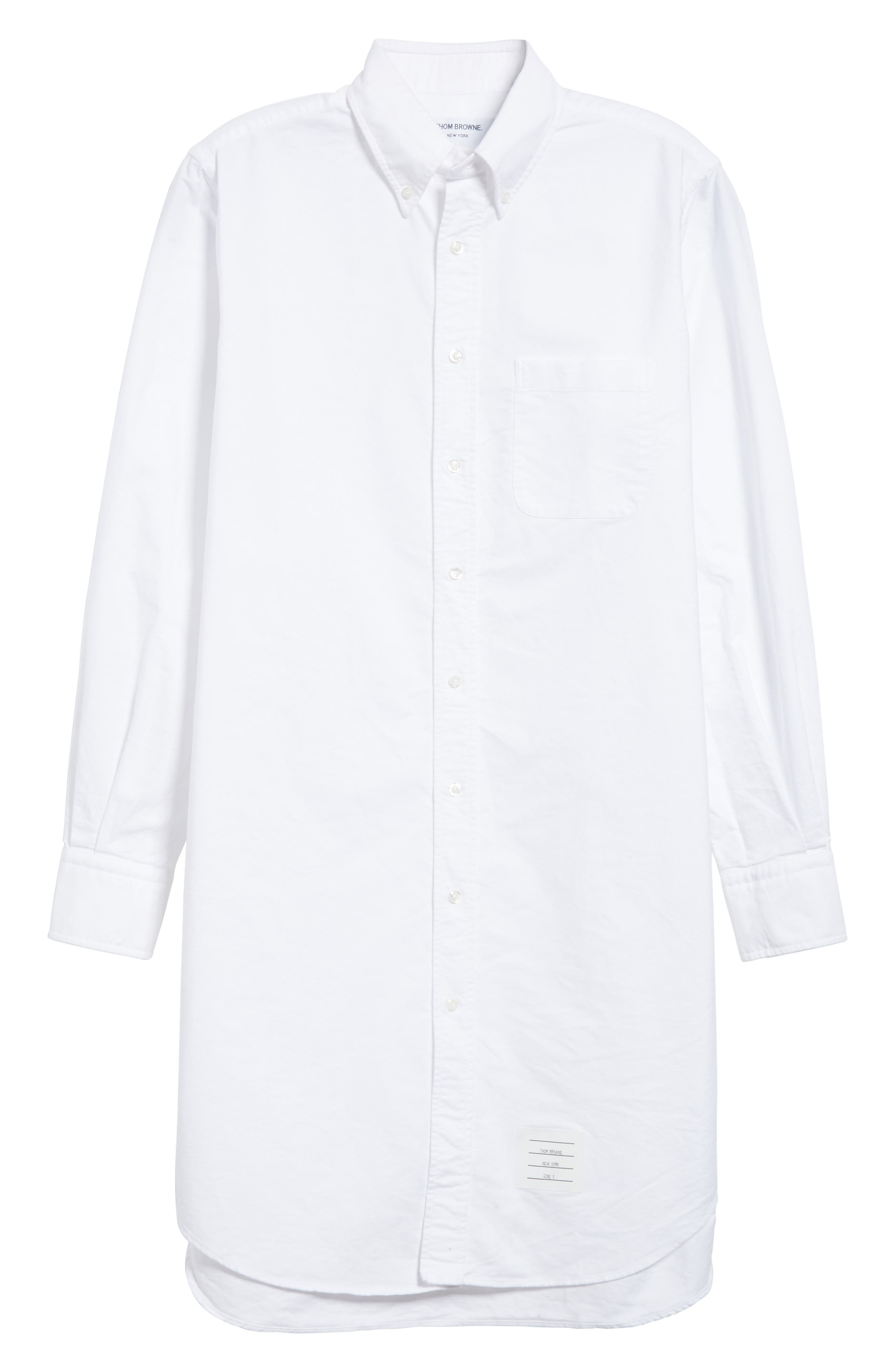 Elongated Woven Shirt,                             Alternate thumbnail 6, color,                             White
