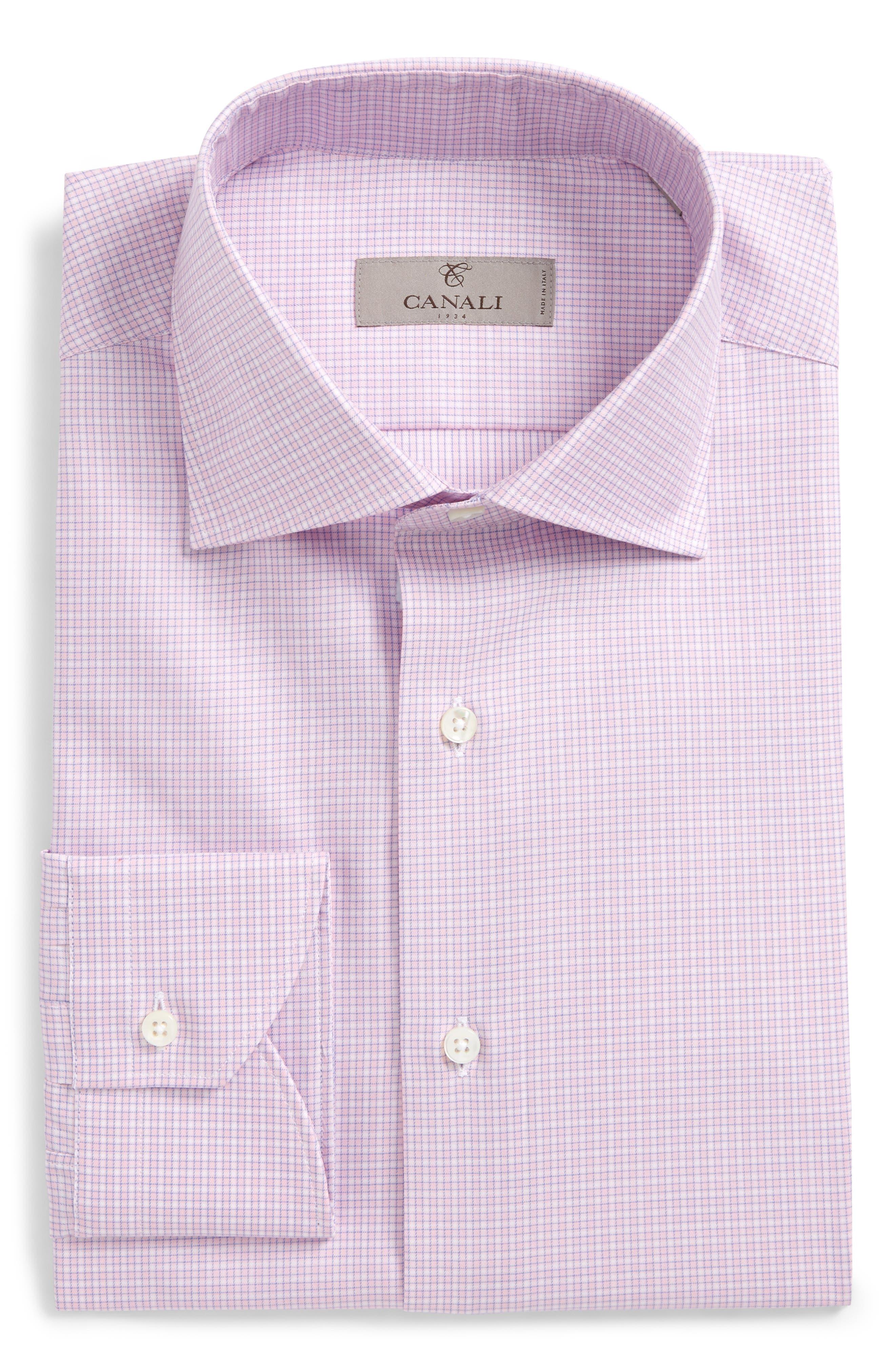 Regular Fit Check Dress Shirt,                         Main,                         color, Pink