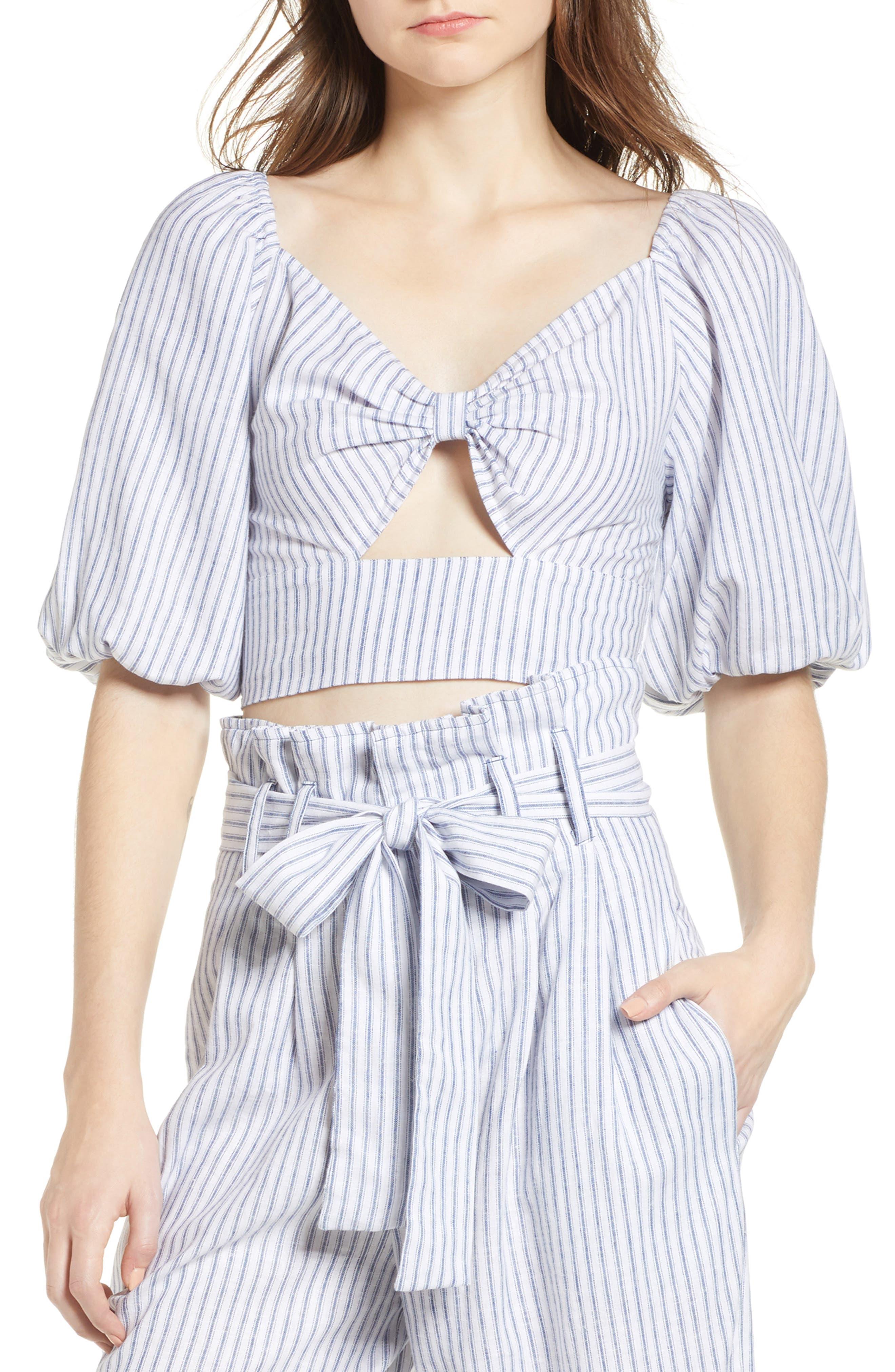 Tie Front Crop Top,                         Main,                         color, Navy Evening Stripe