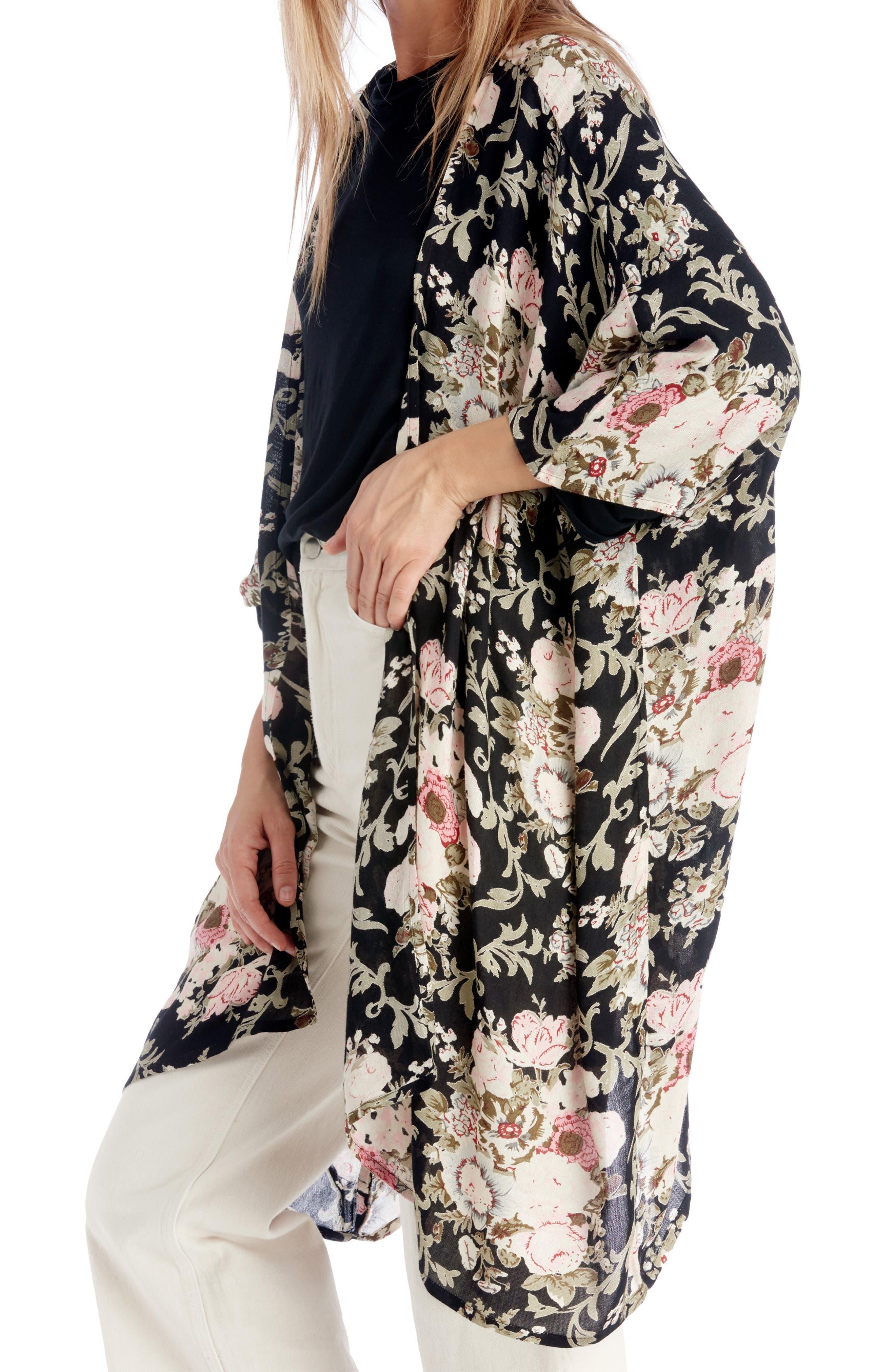 Romantic Floral Kimono,                             Main thumbnail 1, color,                             Black Multi