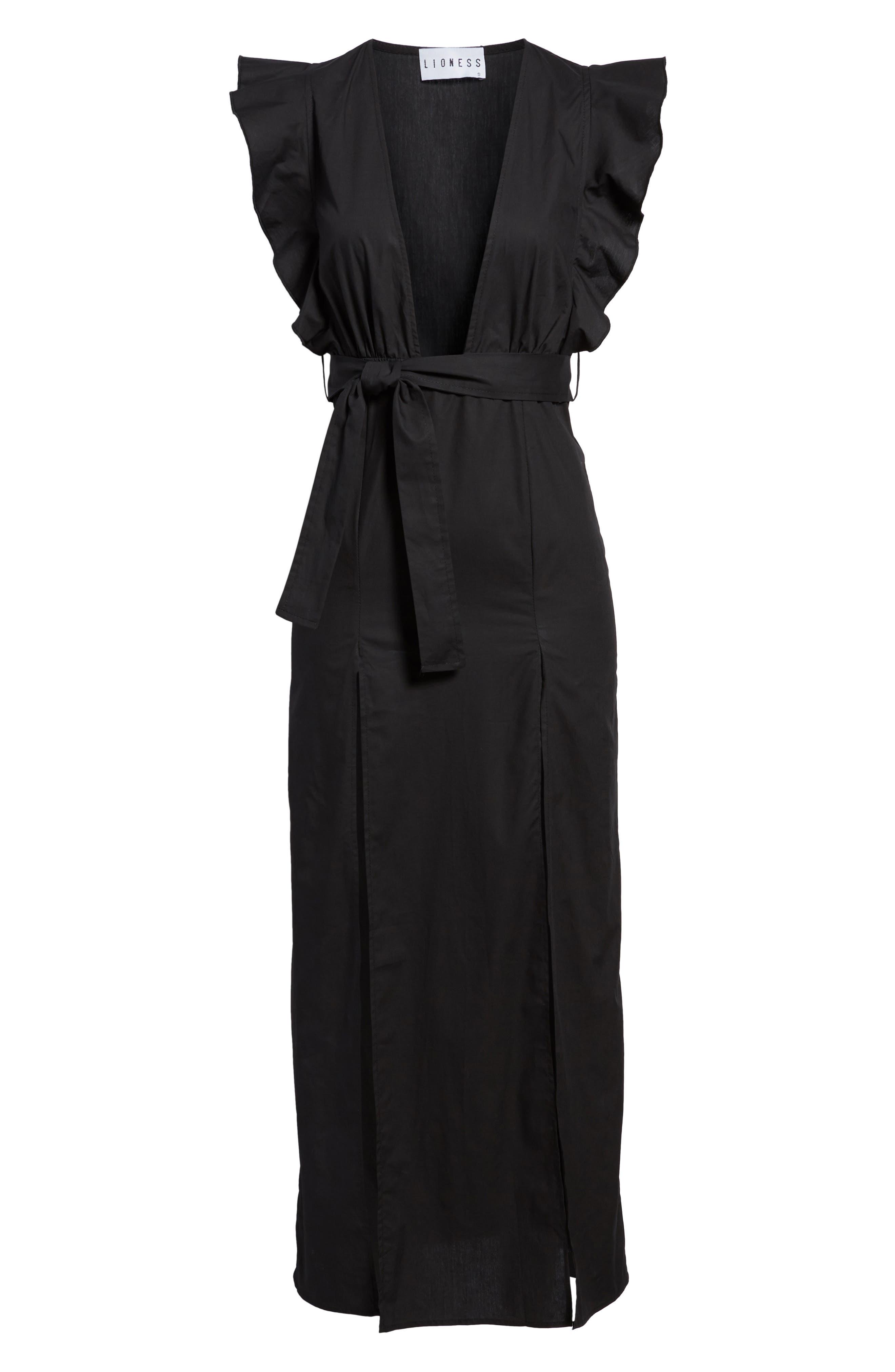 Delilah Maxi Dress,                             Alternate thumbnail 6, color,                             Black
