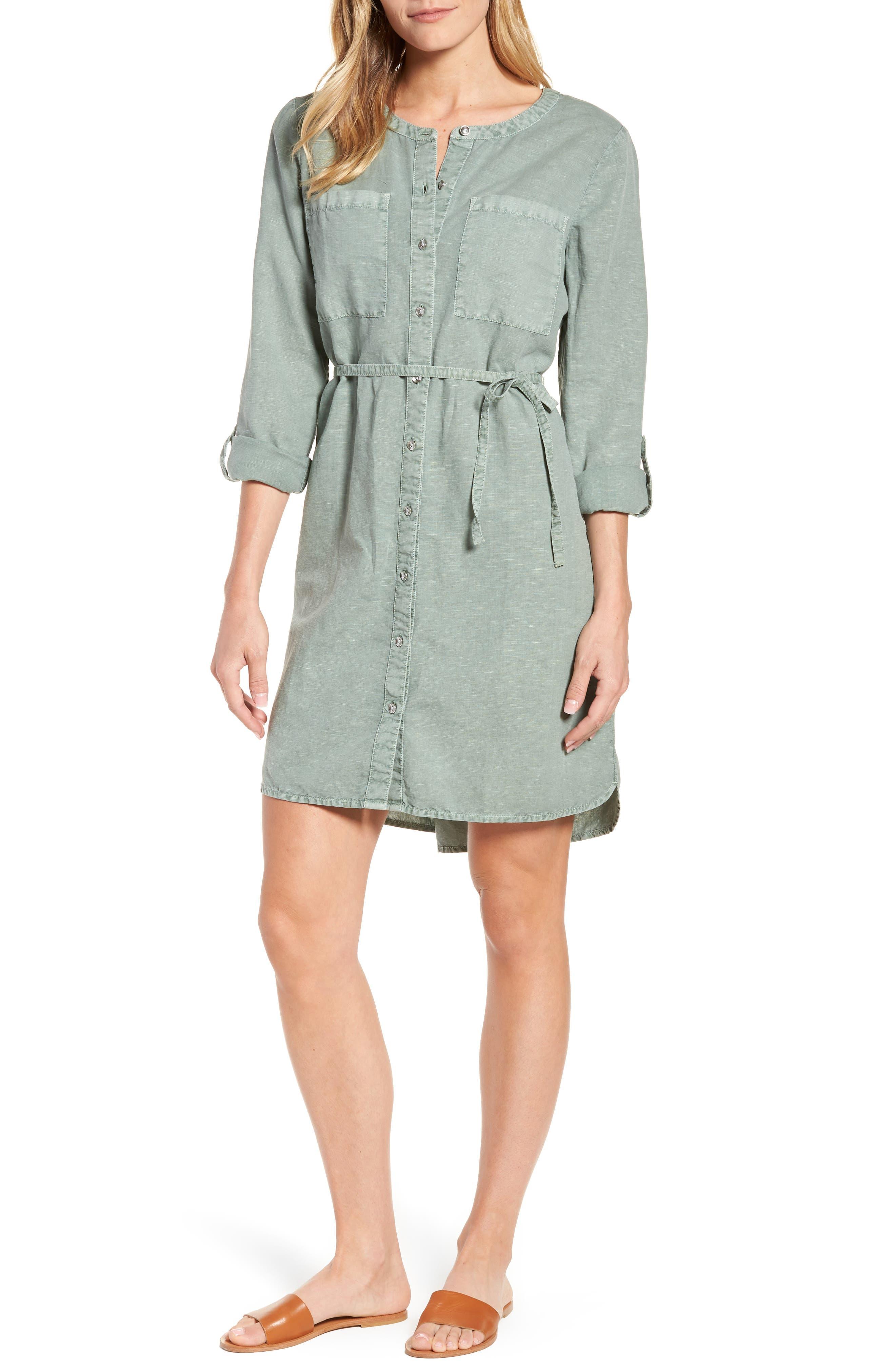 Linen Cotton Shirtdress,                         Main,                         color, Green Lilypad