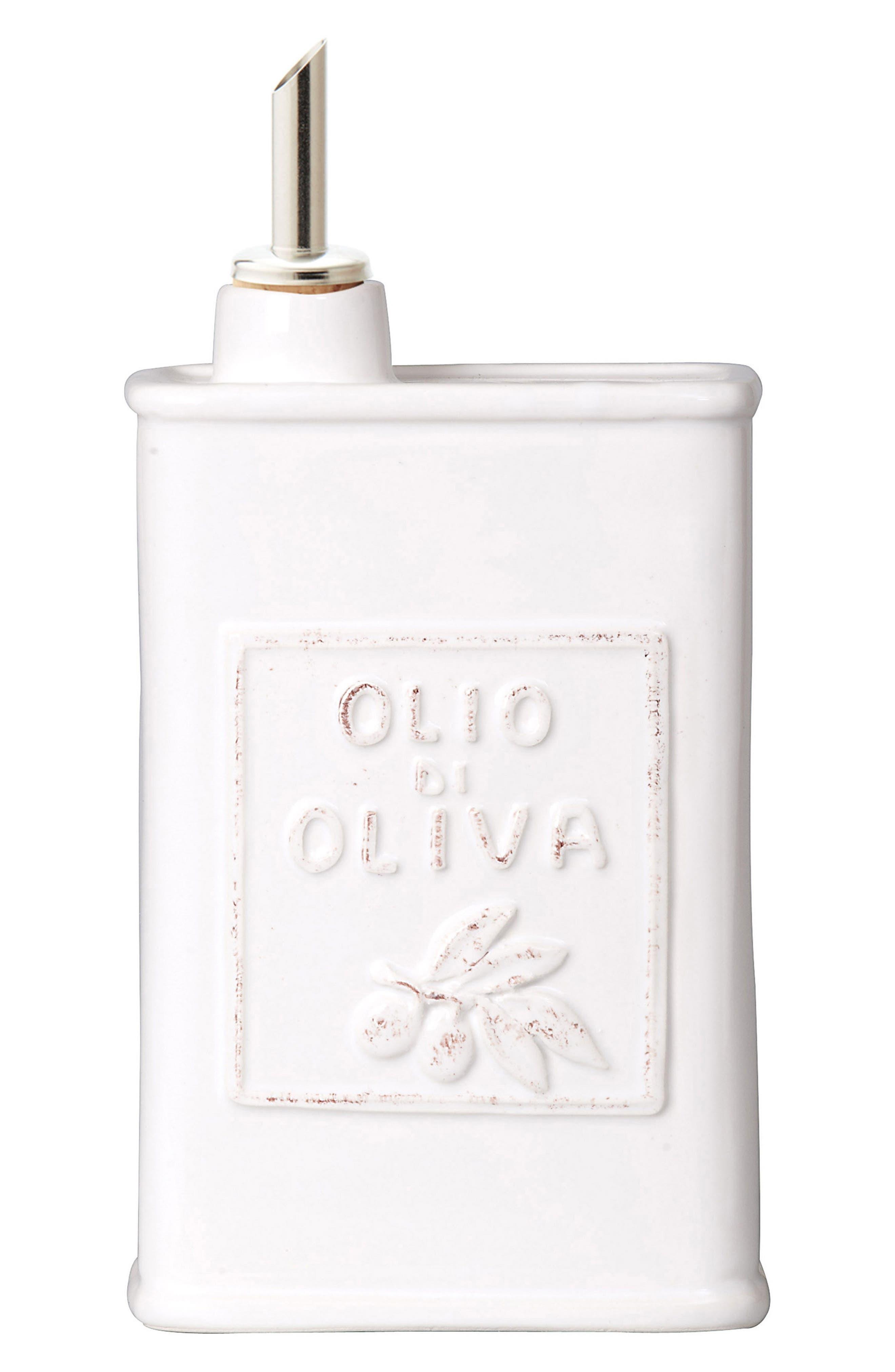 Lastra Stoneware Olive Oil Container,                         Main,                         color, White