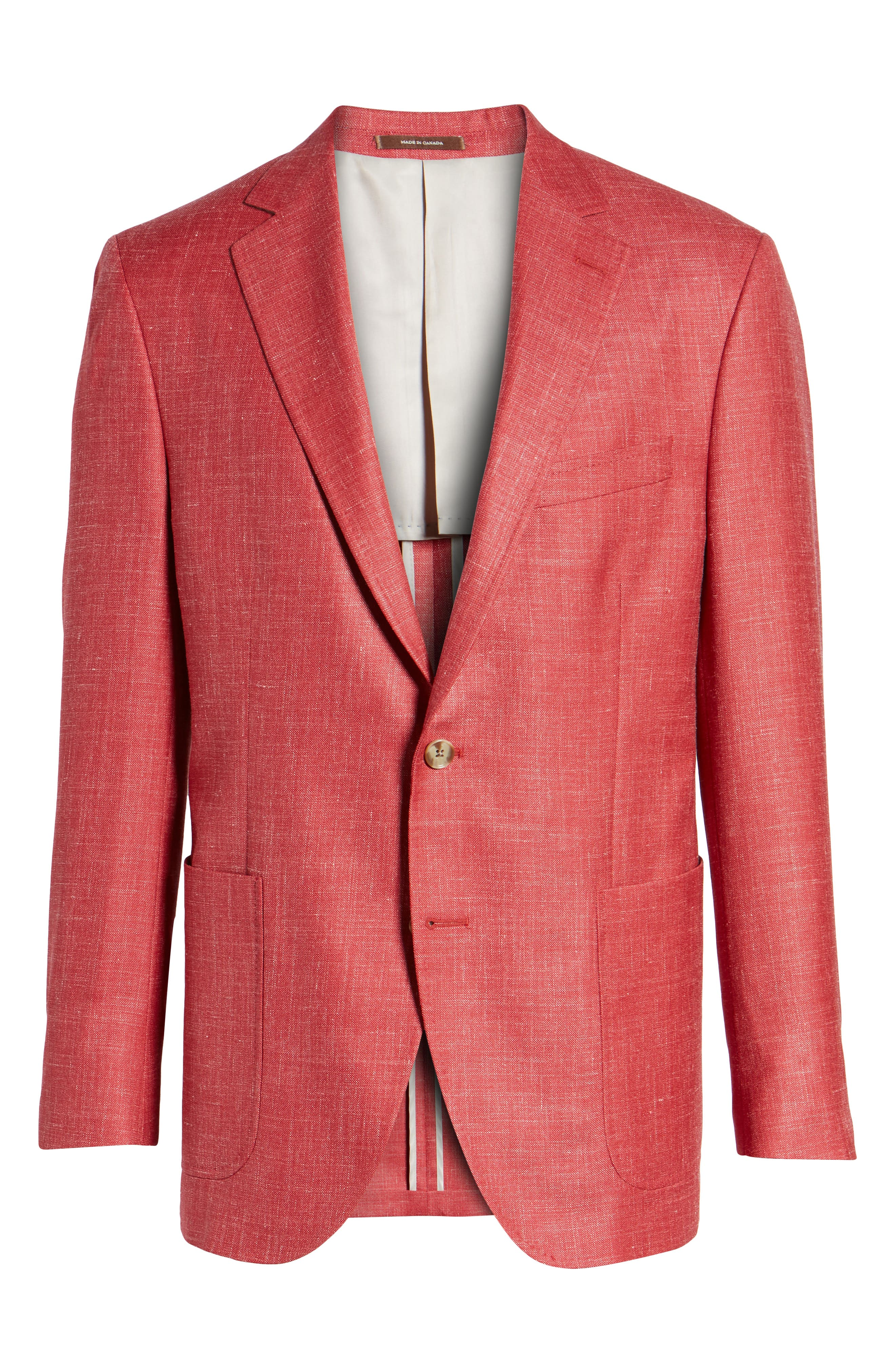 Classic Fit Wool Blend Blazer,                             Alternate thumbnail 6, color,                             Coral