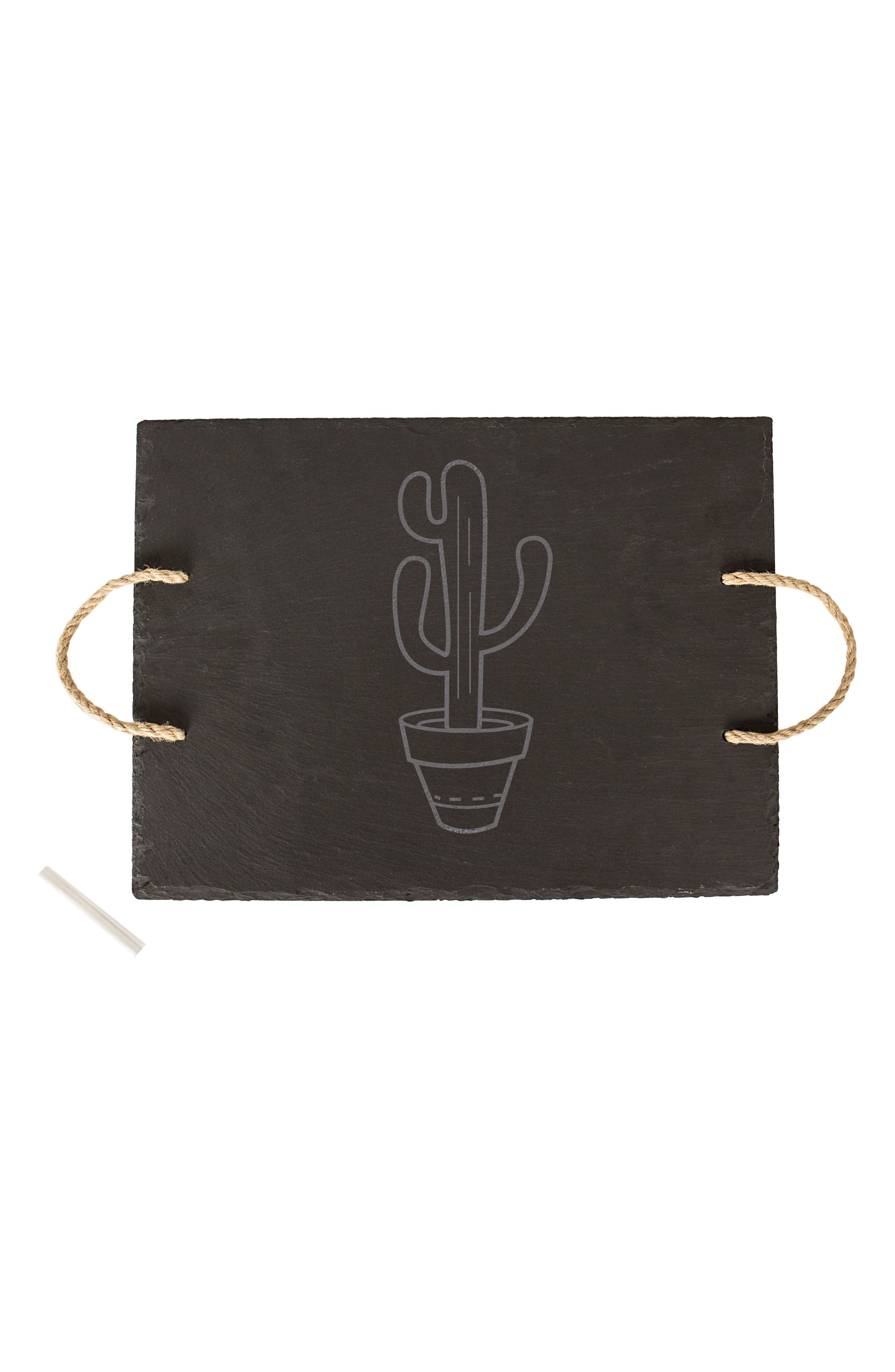 Cactus Slate Serving Board,                             Main thumbnail 1, color,                             Black