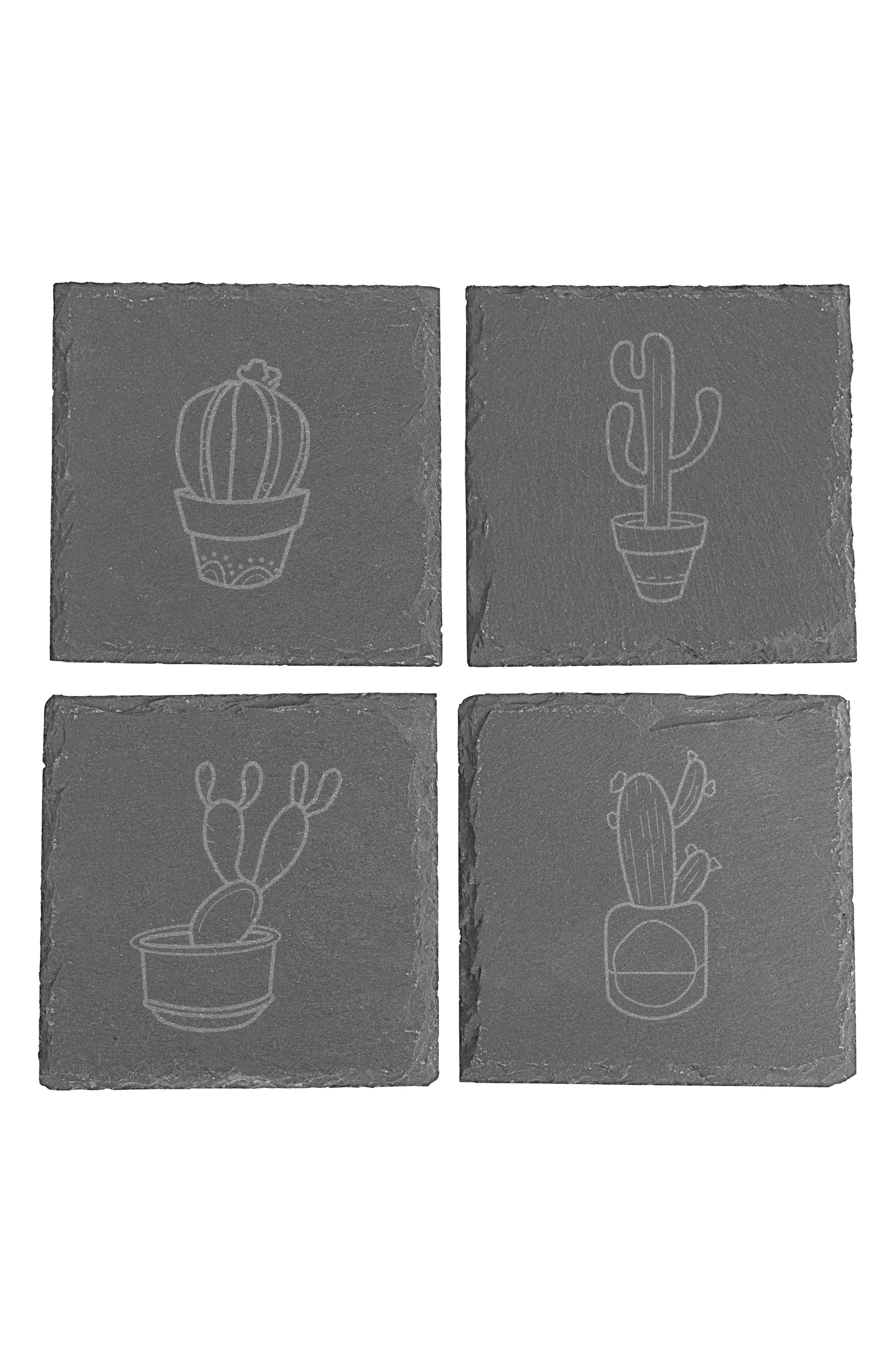 Cactus Set of 4 Coasters,                             Main thumbnail 1, color,                             Black