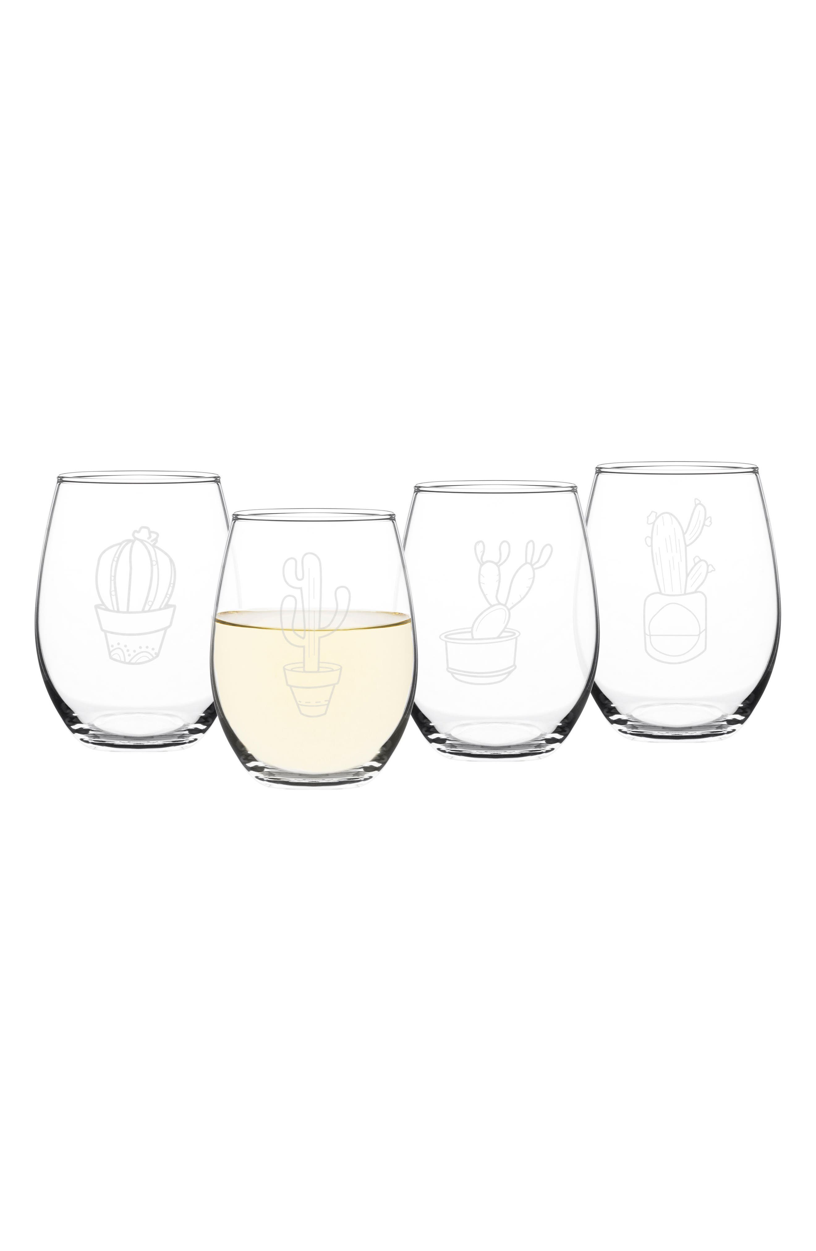 Cactus Set of 4 Stemless Wine Glasses,                             Alternate thumbnail 4, color,                             Clear