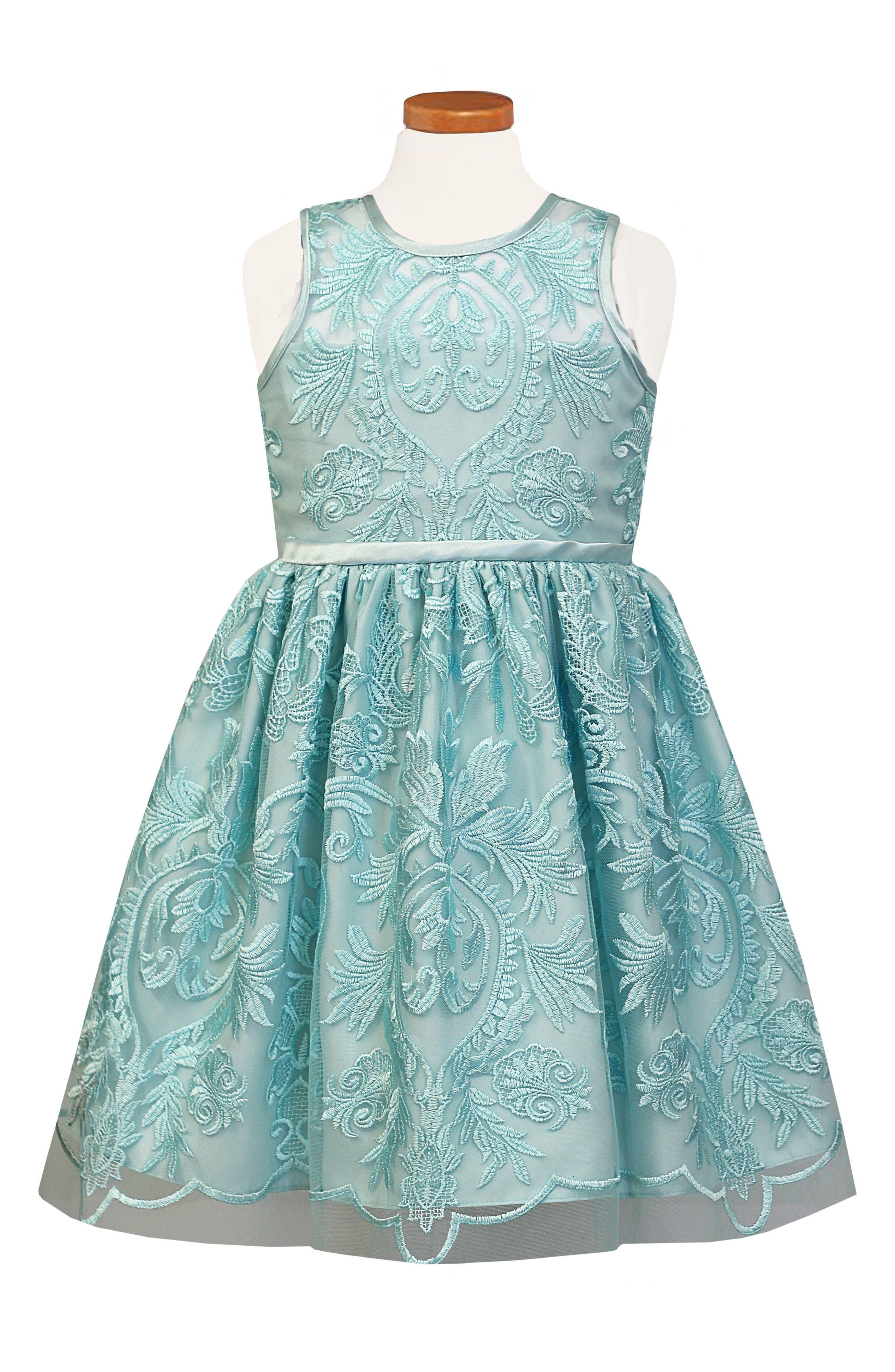 Embroidered Fit & Flare Dress,                         Main,                         color, Aqua