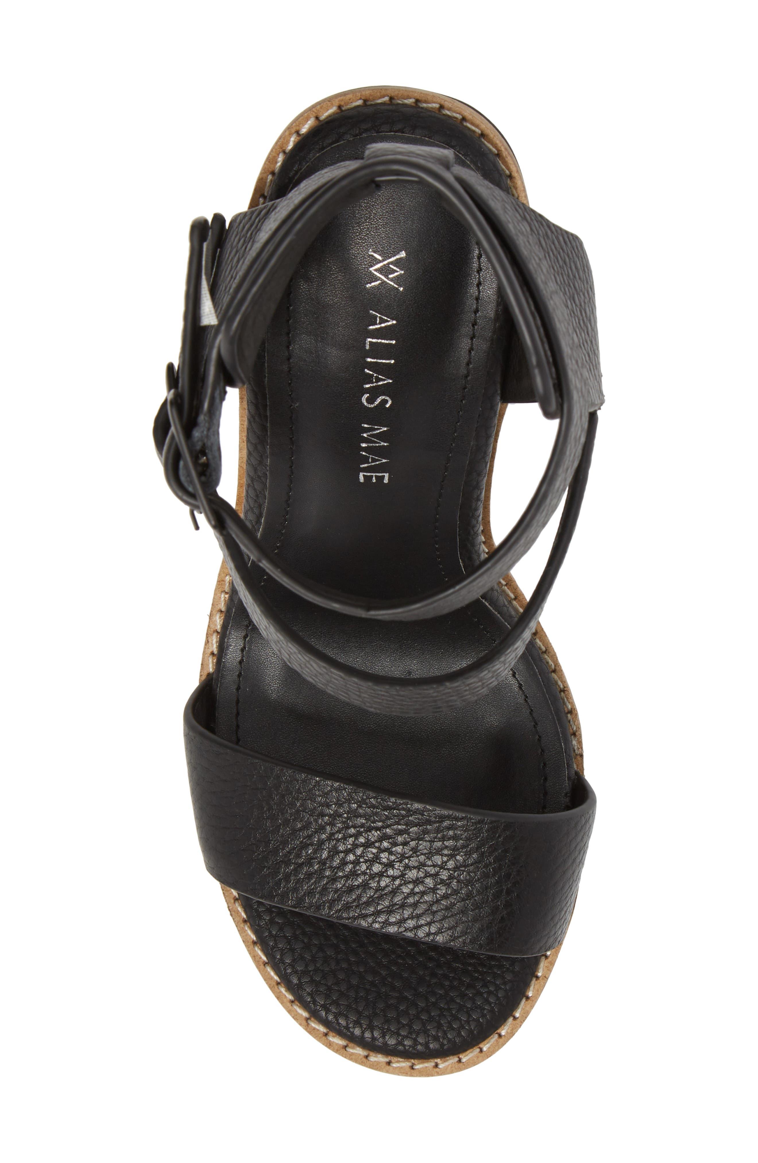 Casper Tall Sandal,                             Alternate thumbnail 5, color,                             Black Leather