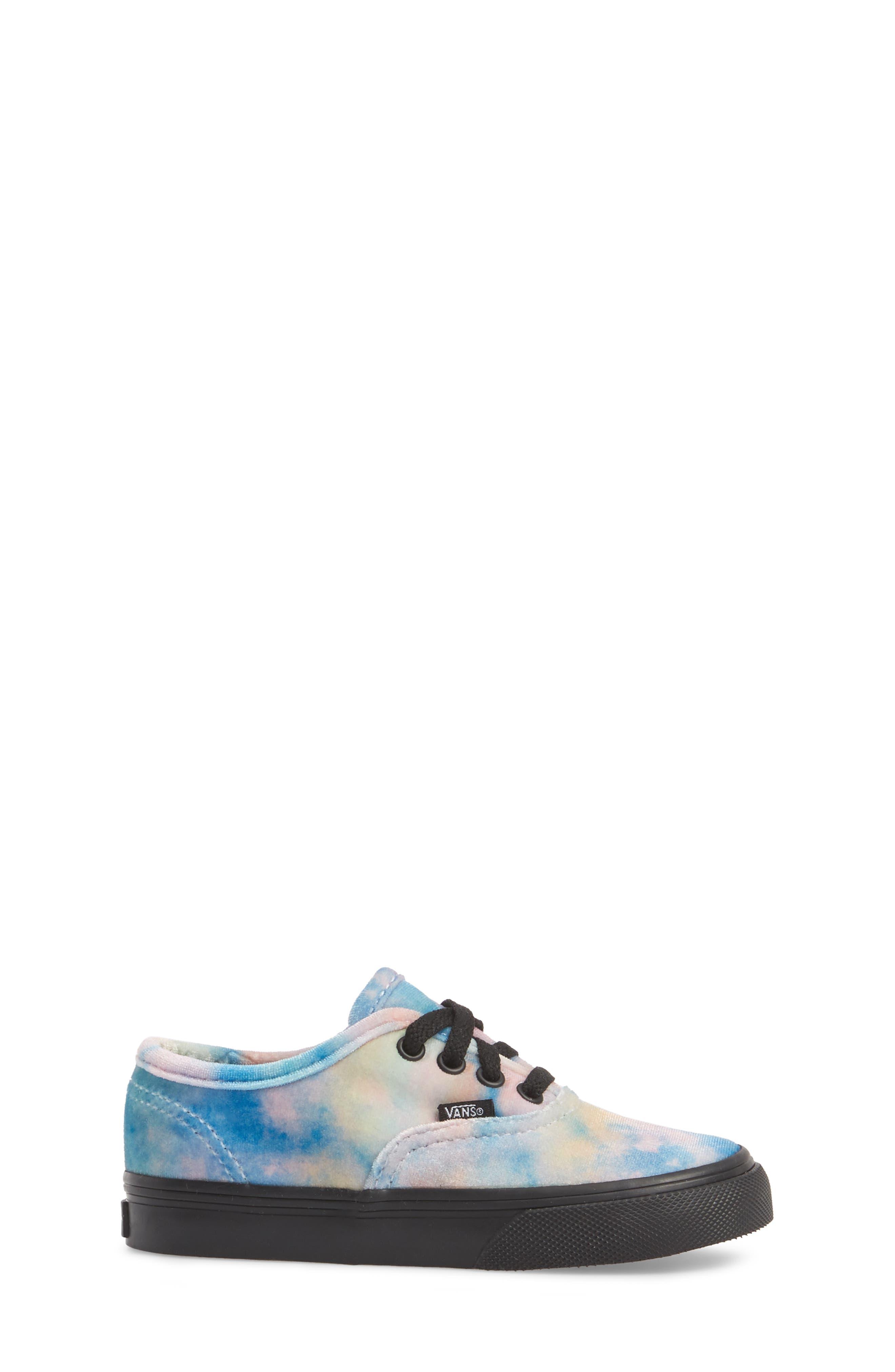 Authentic Velvet Tie Dye Sneaker,                             Alternate thumbnail 3, color,                             Black/ Multi Velvet Tie Dye