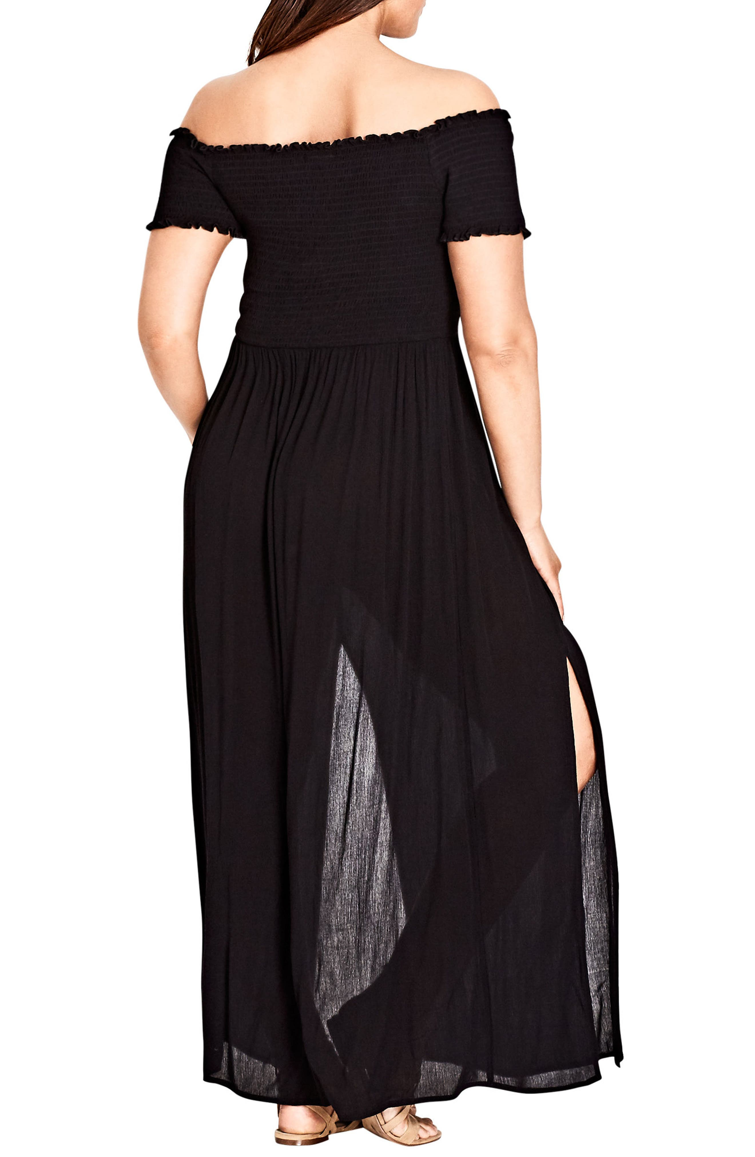 Smocked Off the Shoulder Maxi Dress,                             Alternate thumbnail 2, color,                             Black