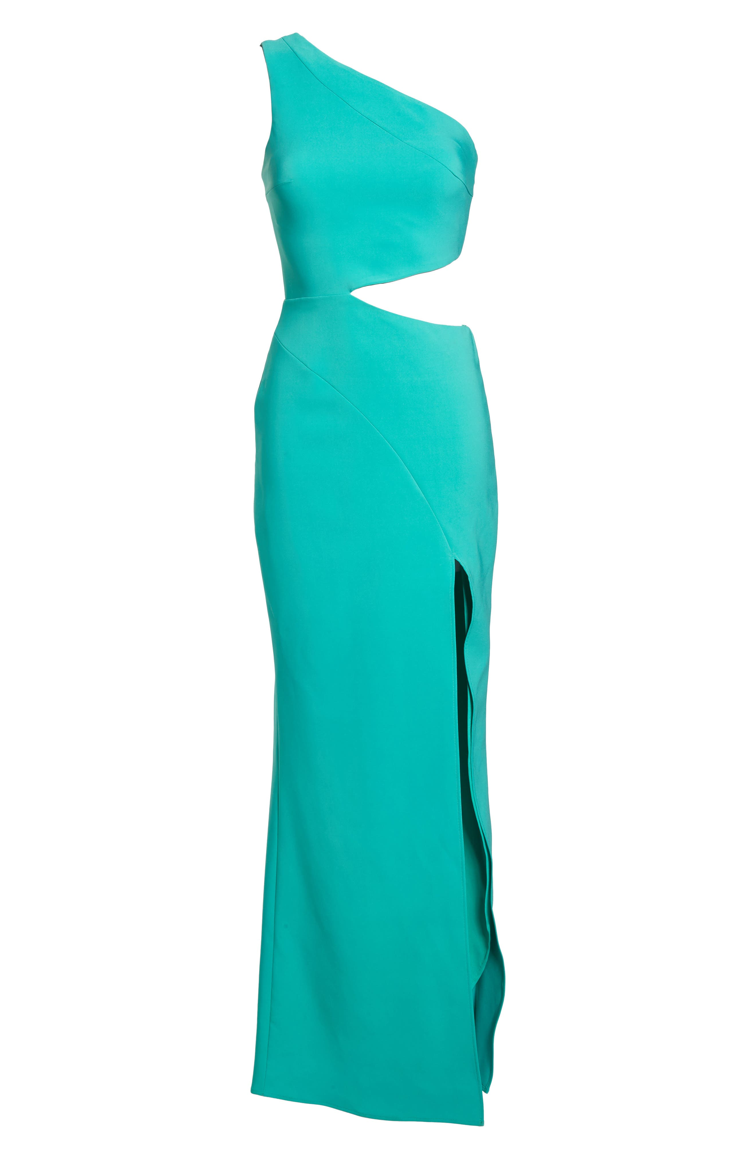 Cameron One-Shoulder Cutout Gown,                             Alternate thumbnail 6, color,                             Jade