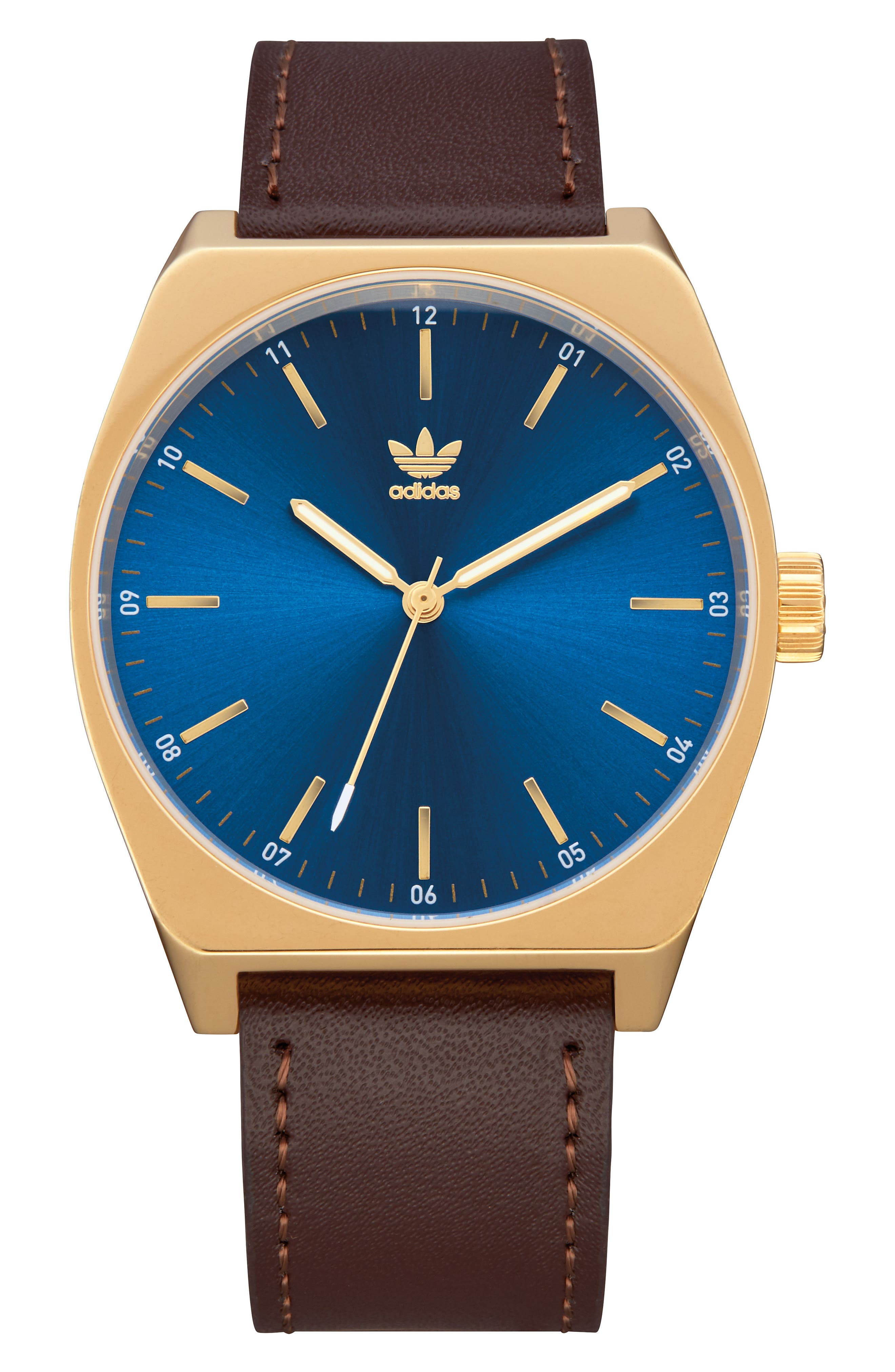 Process Leather Strap Watch, 38mm,                             Main thumbnail 1, color,                             Brown/ Blue/ Gold