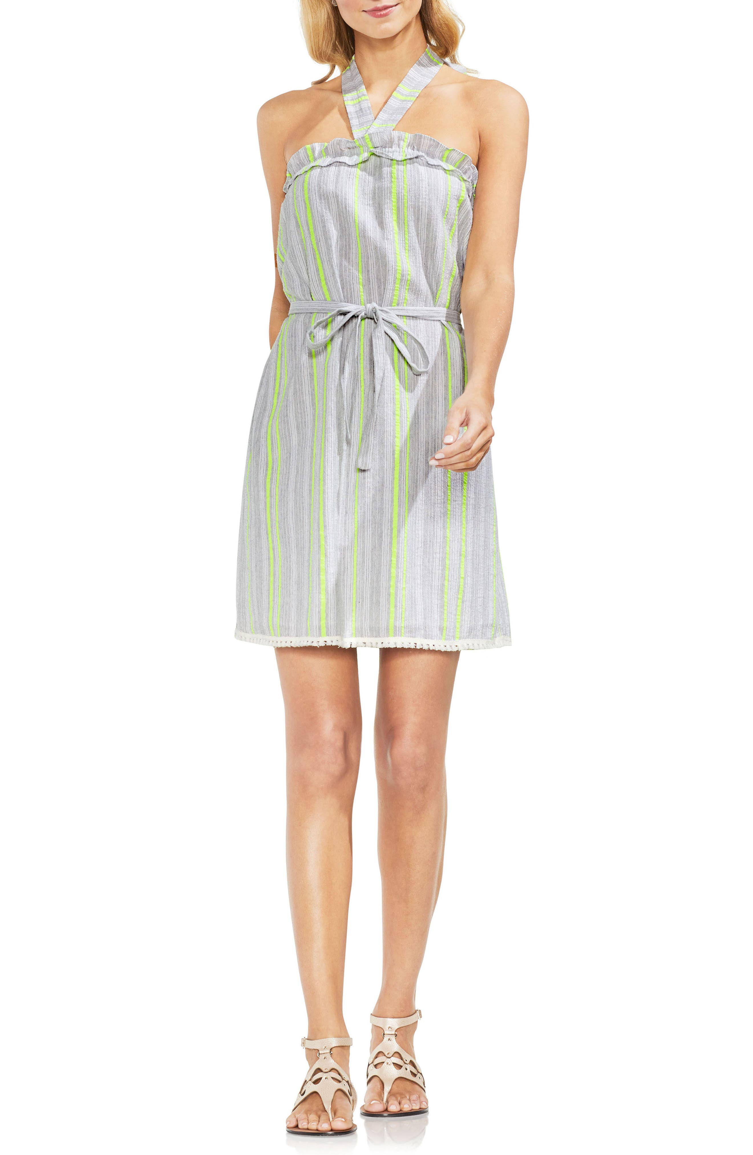 Halter Top Stripe Cotton Blend Dress,                         Main,                         color, Island Lime