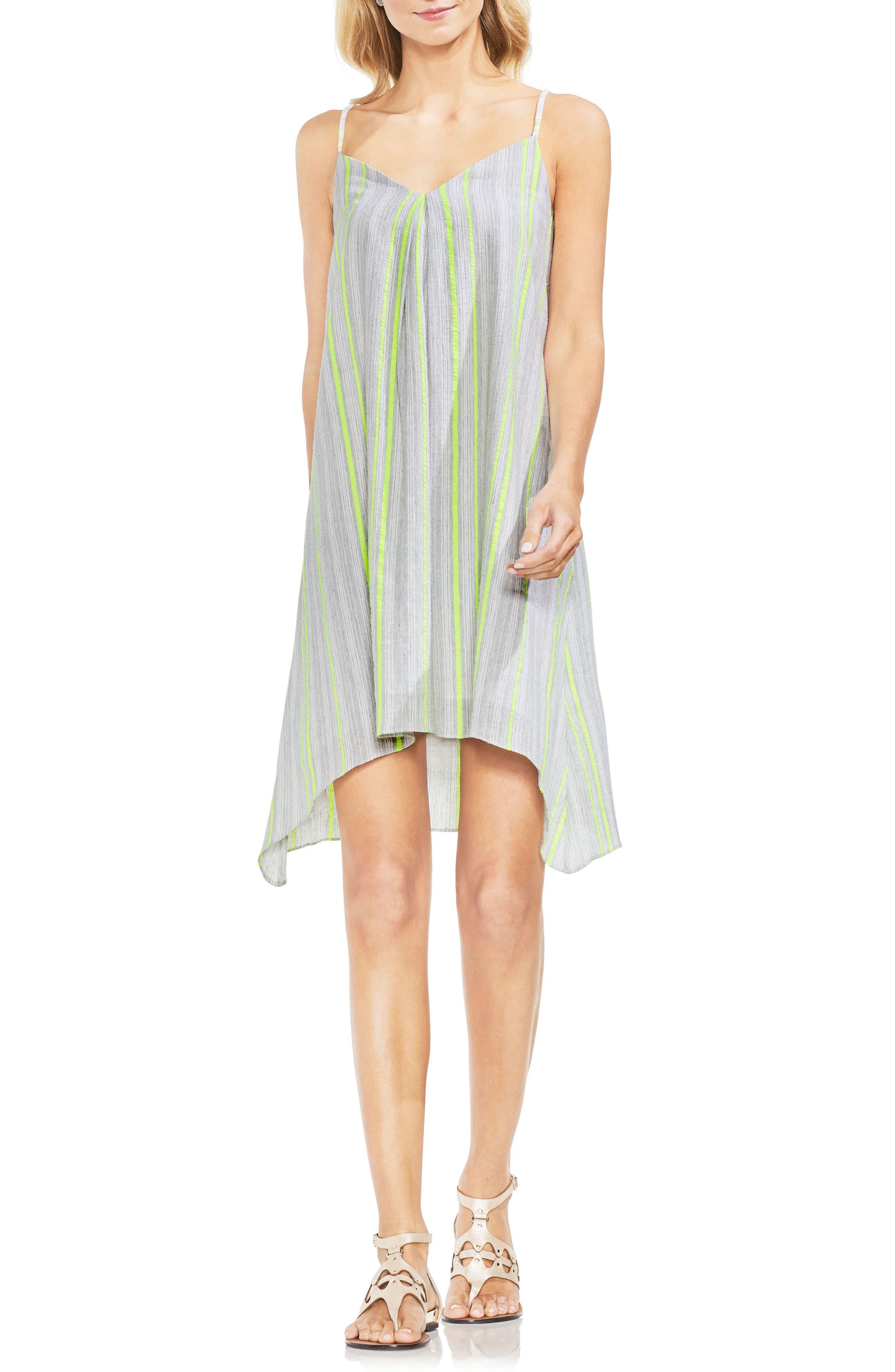 Sharkbite Stripe Cotton Blend Gauze Dress,                         Main,                         color, Island Lime