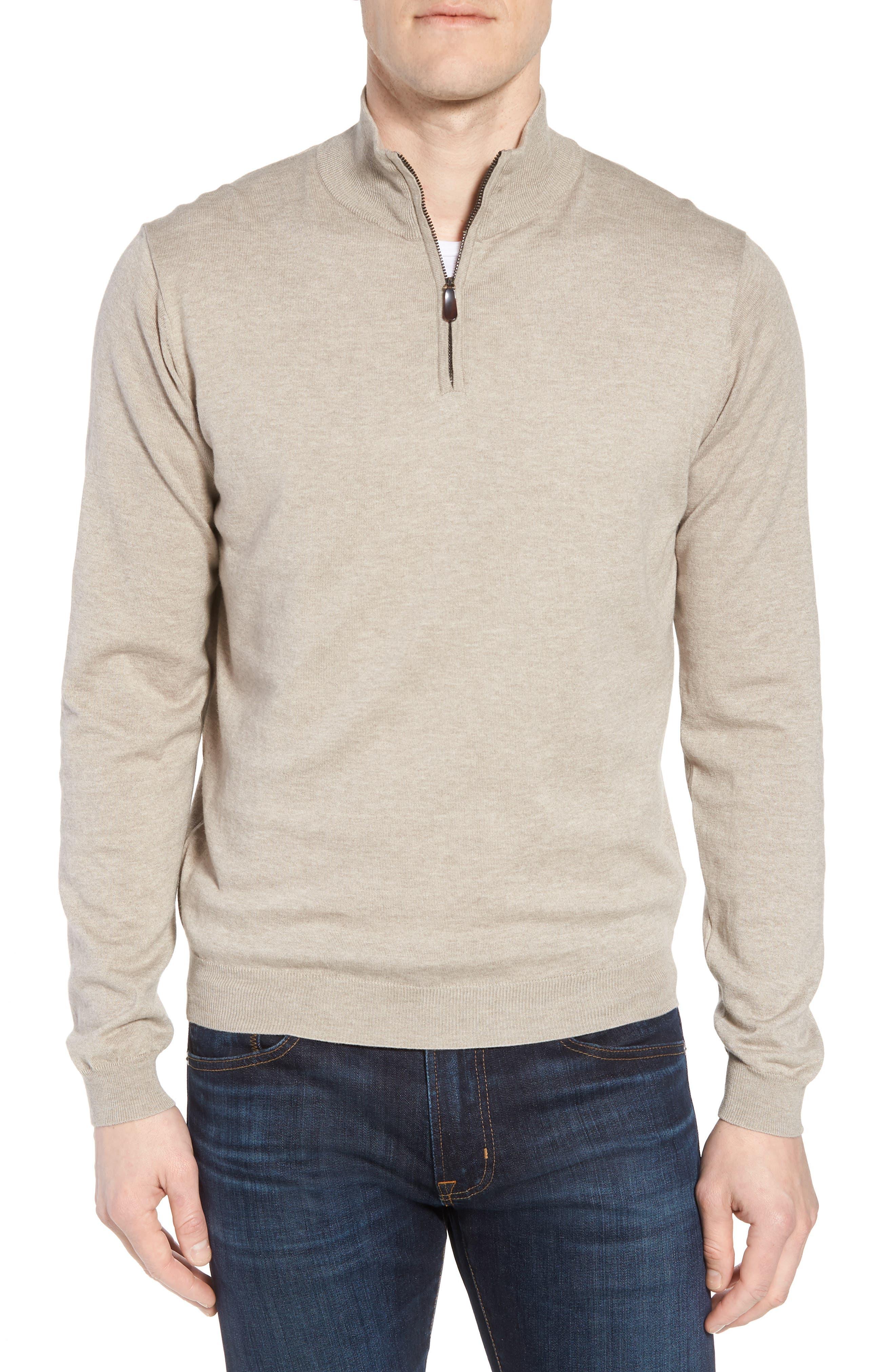 Cotton & Silk Quarter Zip Pullover,                             Main thumbnail 1, color,                             Dune