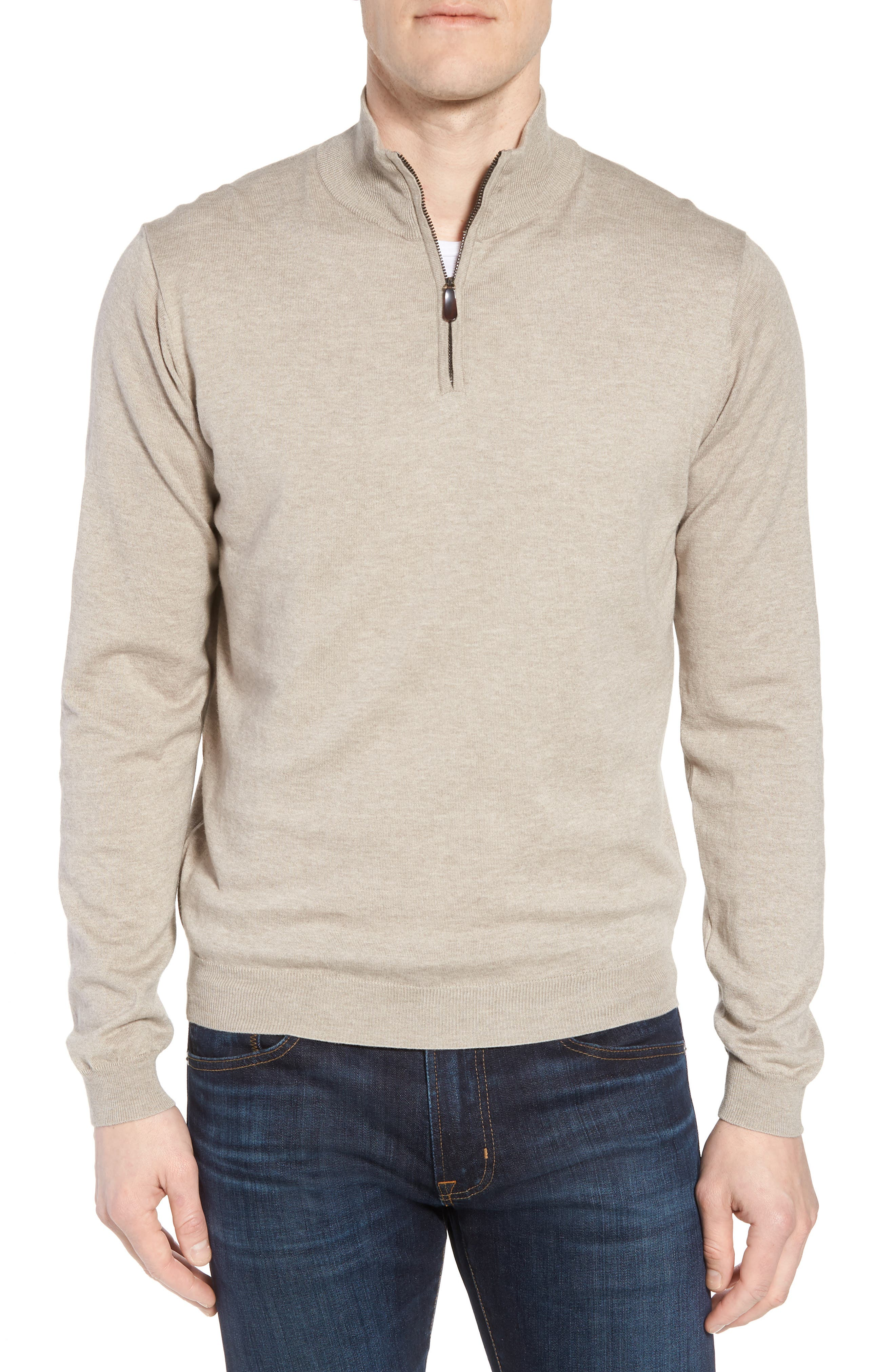 Cotton & Silk Quarter Zip Pullover,                         Main,                         color, Dune