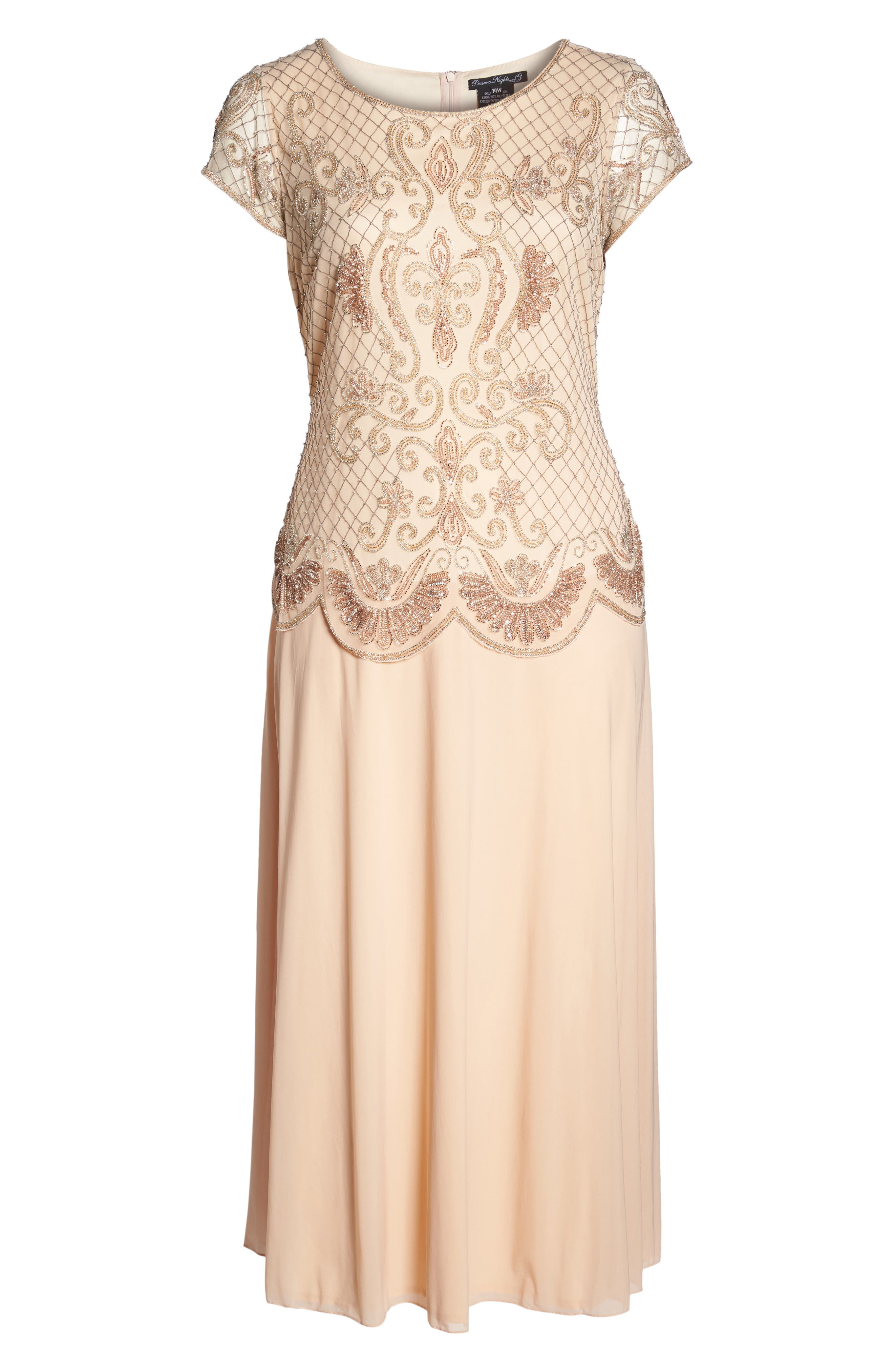 Embellished Mock Two-Piece Gown,                             Alternate thumbnail 6, color,                             Blush