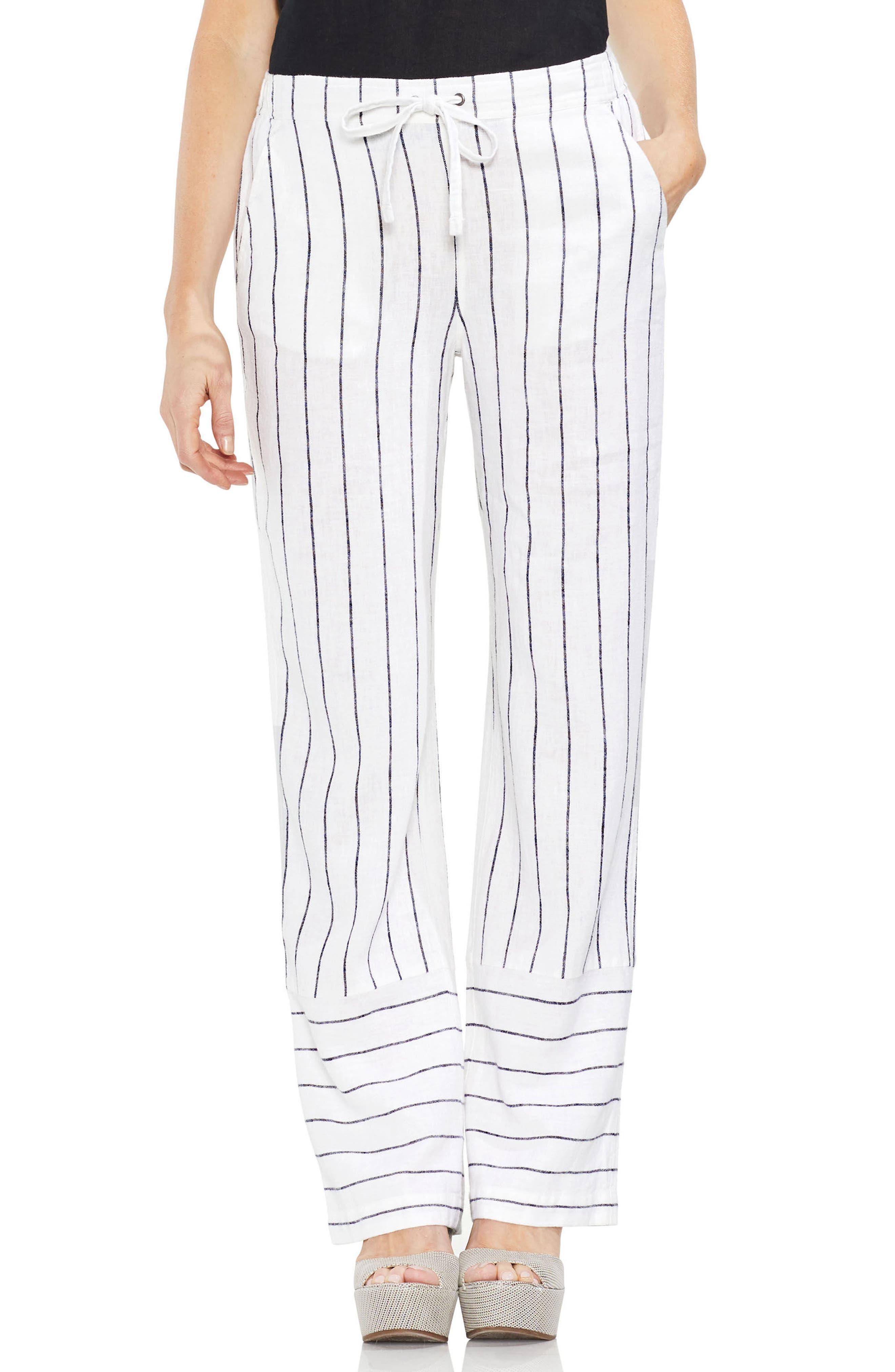 Pinstripe Linen Blend Drawstring Pants,                             Main thumbnail 1, color,                             Ultra White
