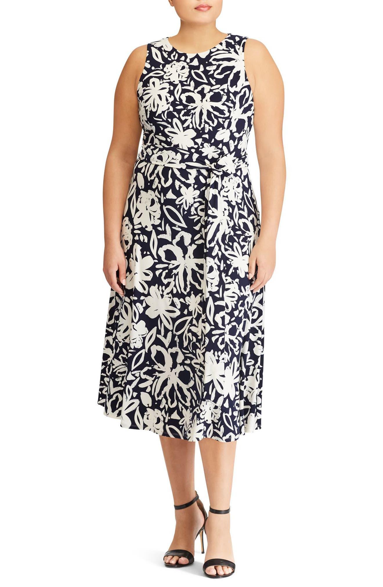 Lauren Ralph Lauren Feliana Coastal Floral Midi Dress (Plus Size)
