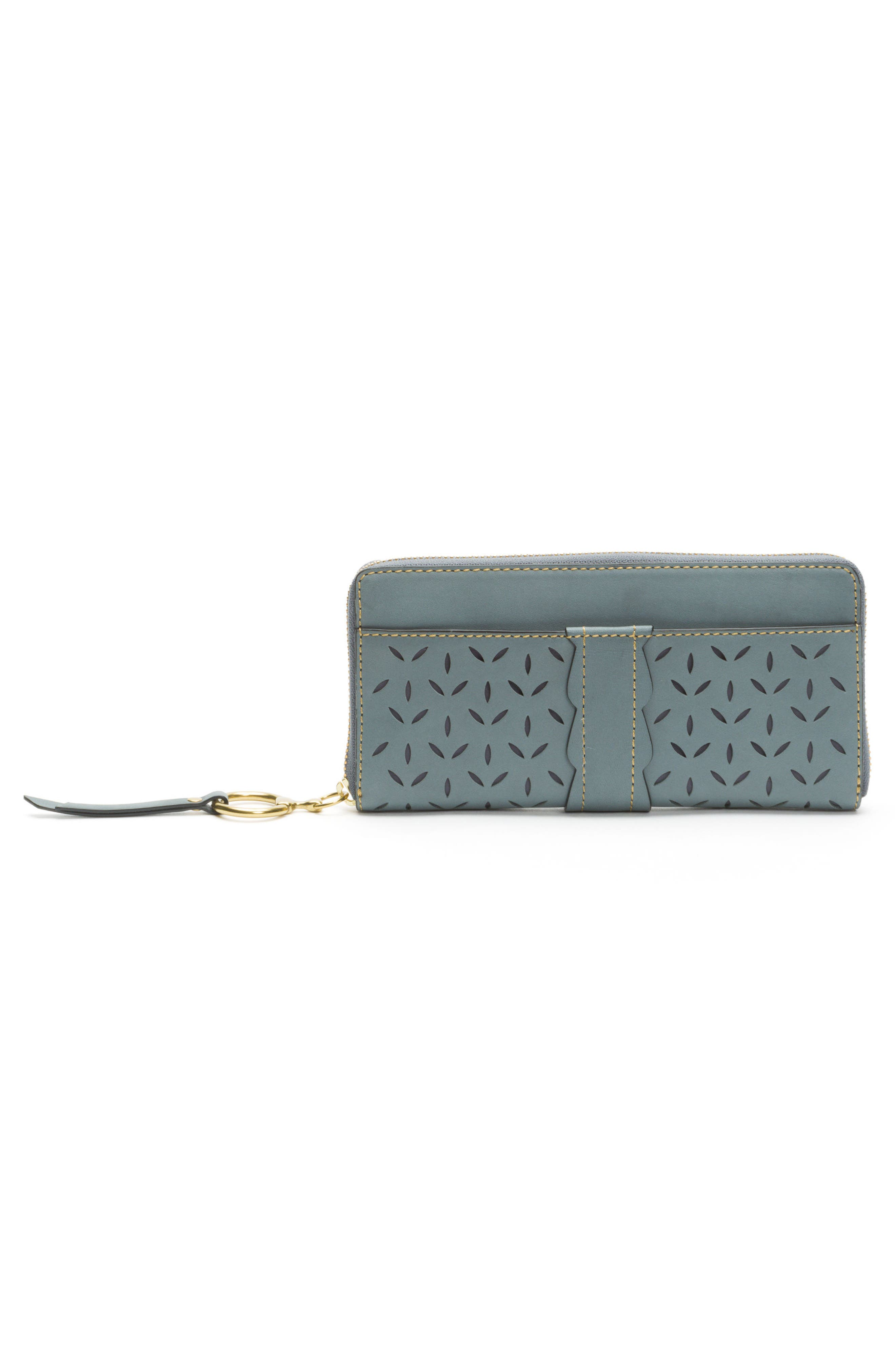 Large Ilana Perforated Leather Zip Wallet,                             Alternate thumbnail 3, color,                             Steel Grey