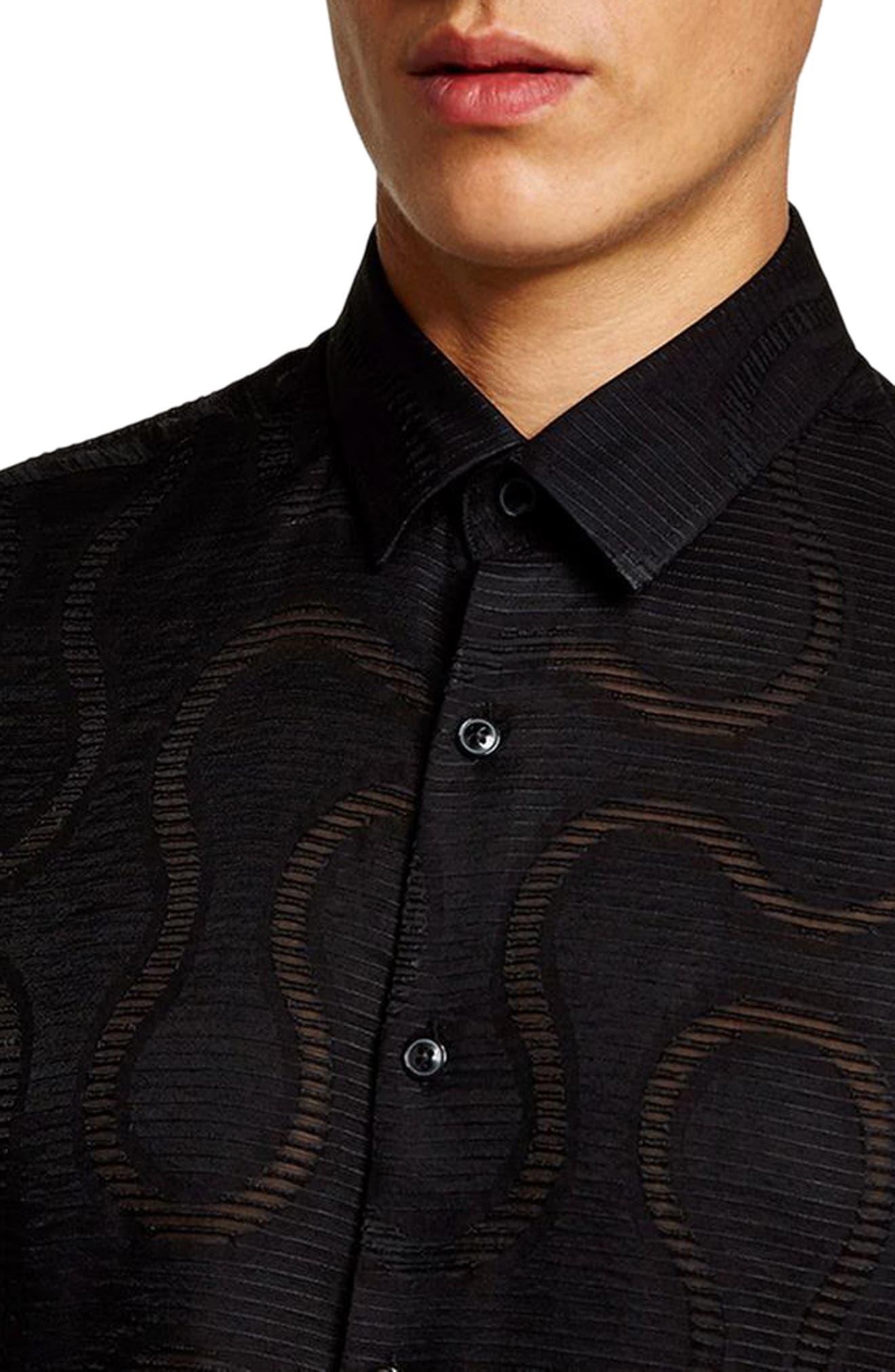 Slim Fit Sheer Swirl Shirt,                             Alternate thumbnail 3, color,                             Black
